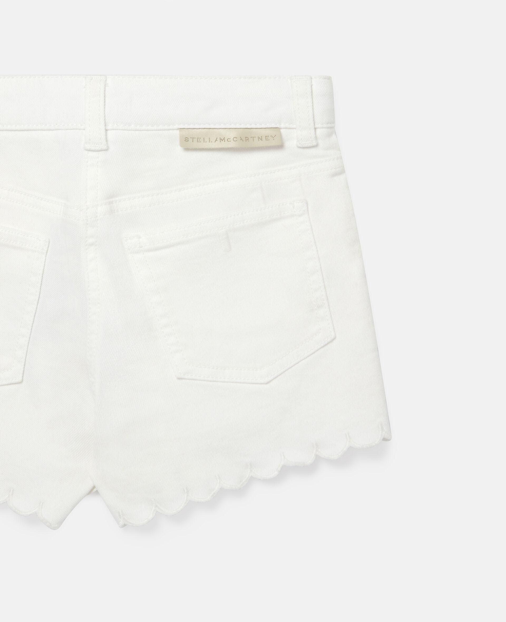 花朵刺绣牛仔短裤-白色-large image number 2