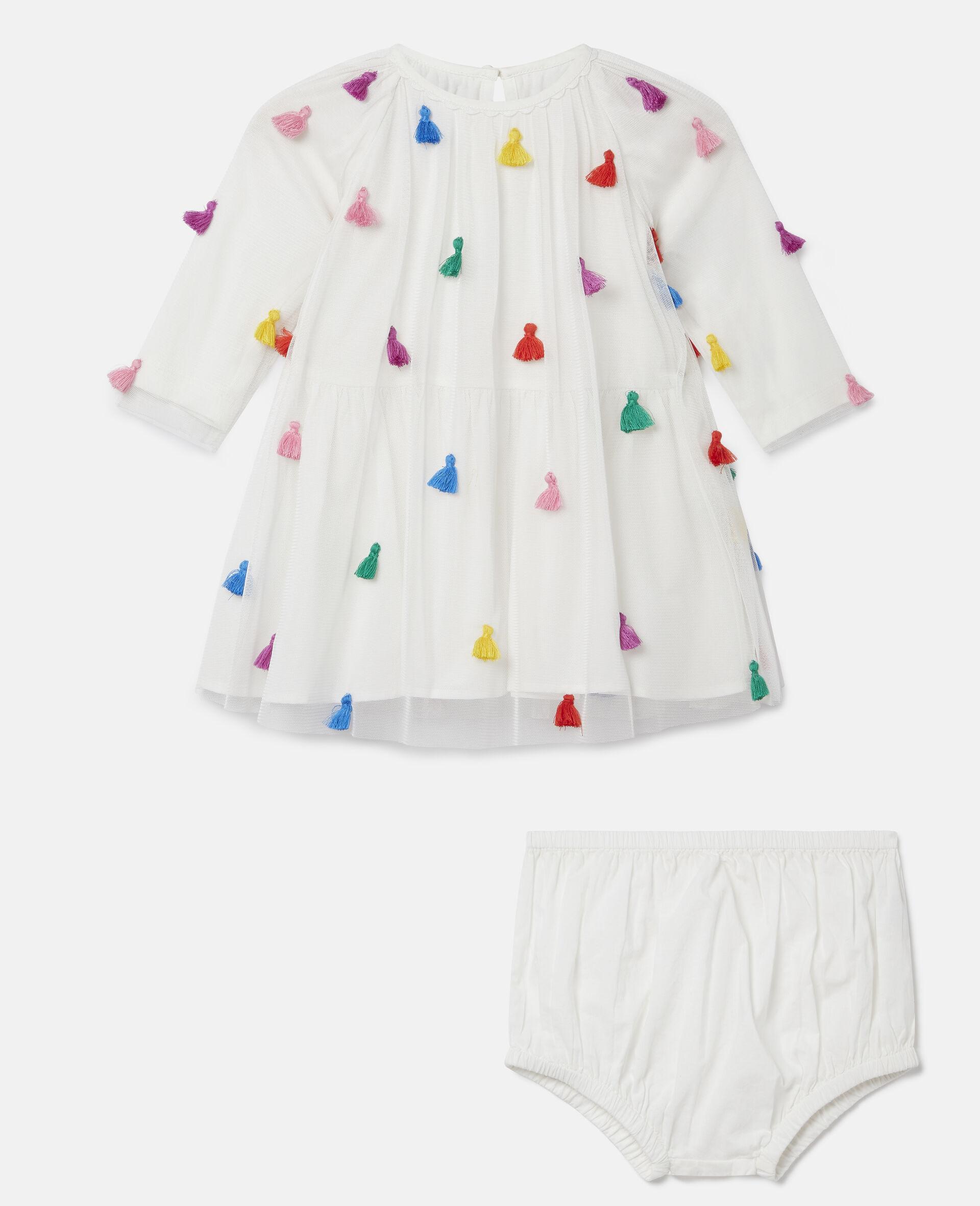 Tassels Tulle Dress-White-large image number 0