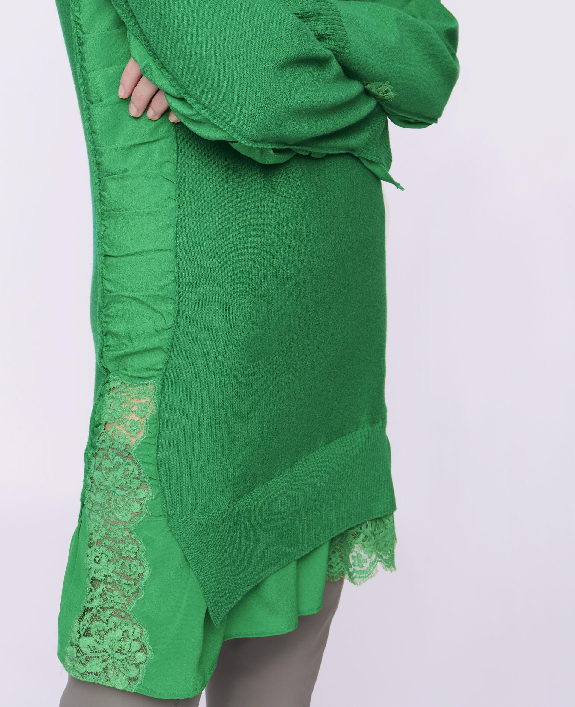 Silk Knit Mini Dress-Green-large image number 3