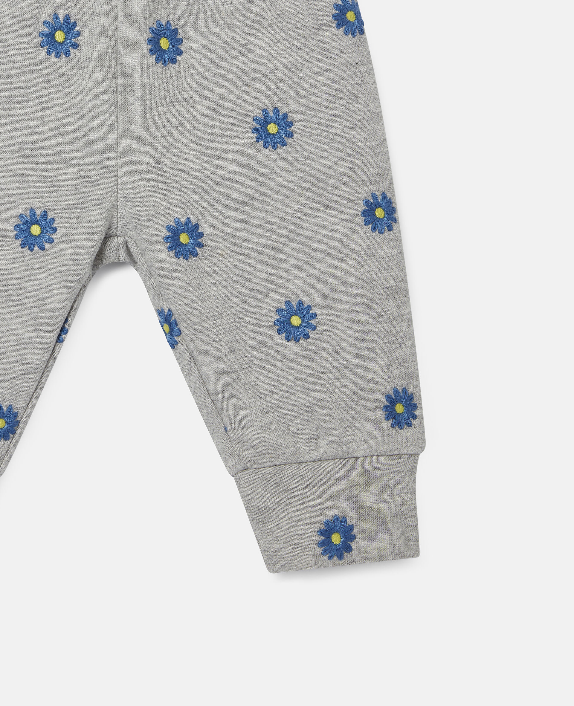 Embroidered Daisies Cotton Fleece Joggers-Grey-large image number 2