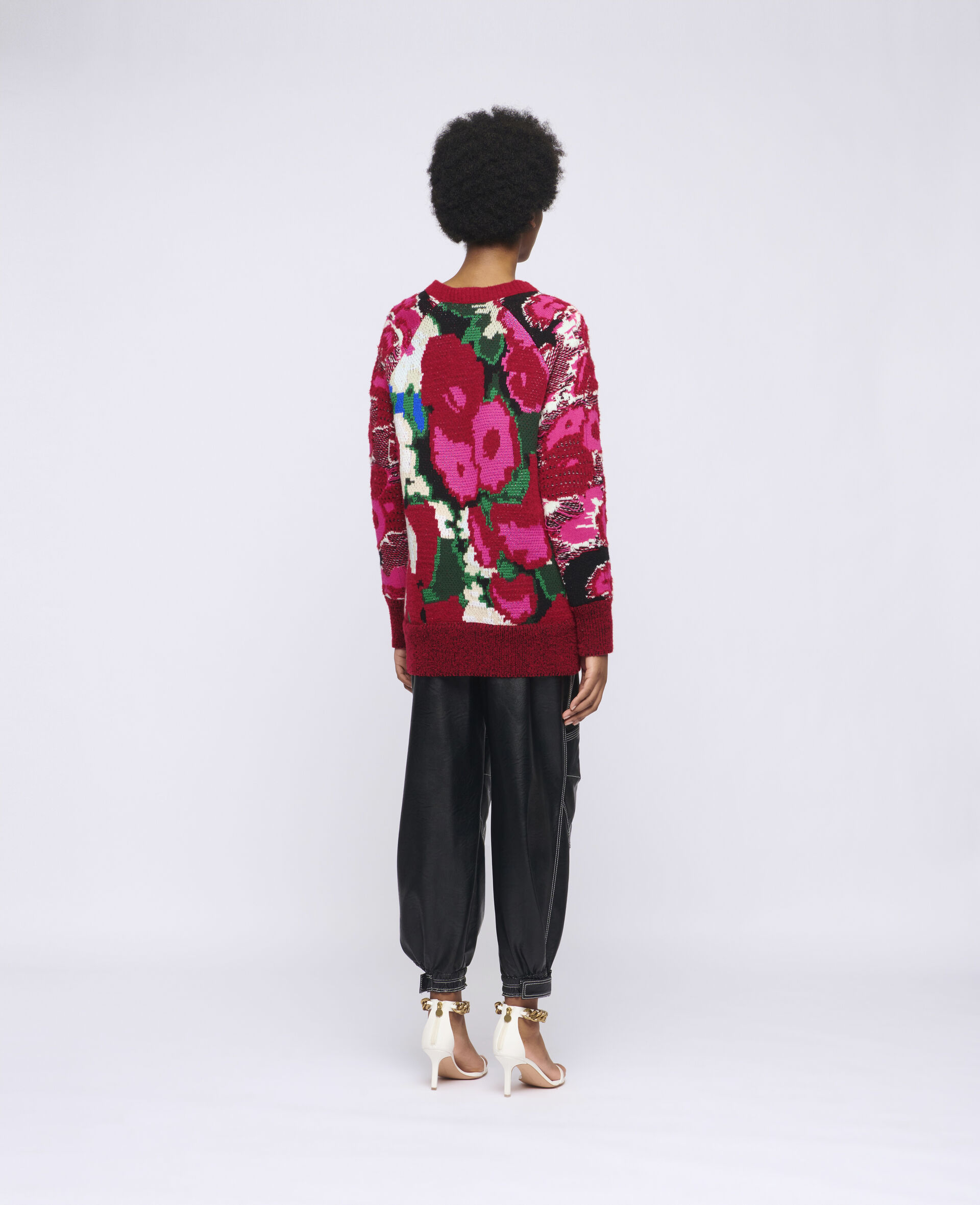 Floral Jacquard Sweater-Multicoloured-large image number 2