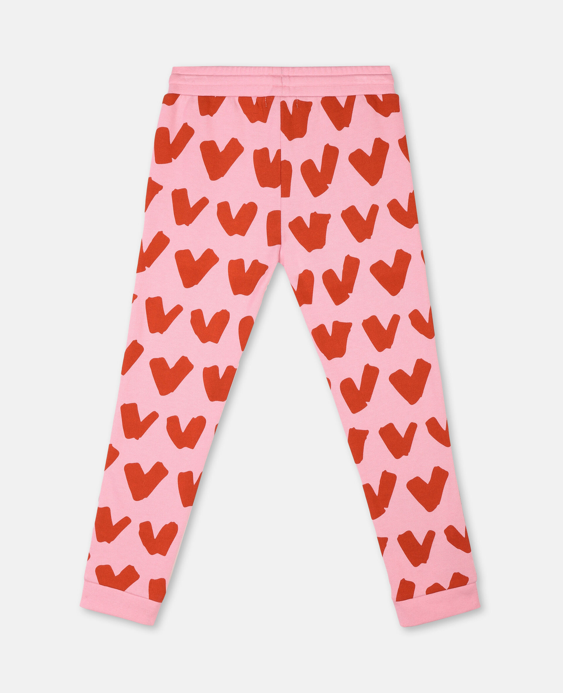 Hearts Cotton Fleece Joggers -Pink-large image number 3