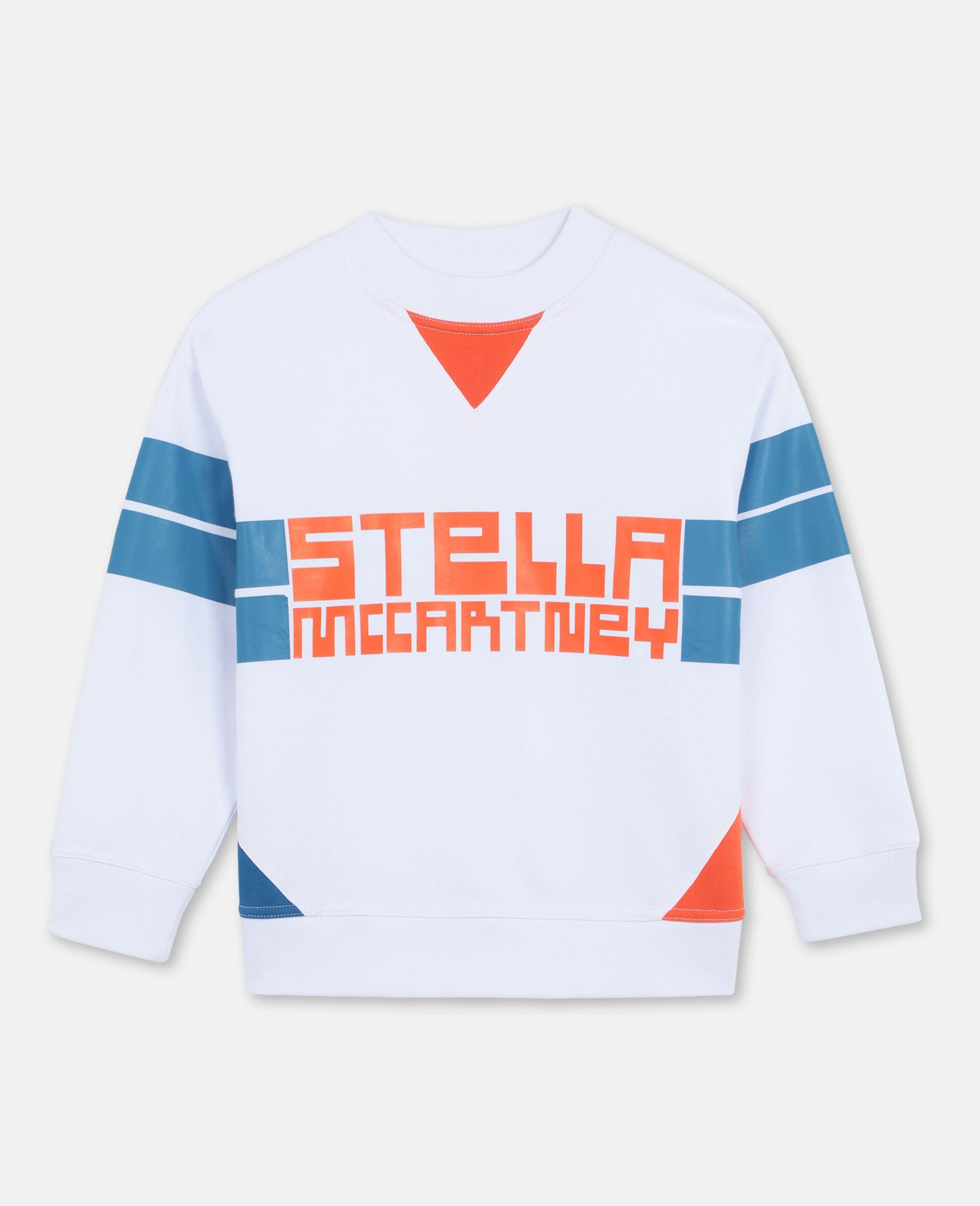 Felpa Oversize Sportiva con Logo -Bianco-large image number 0