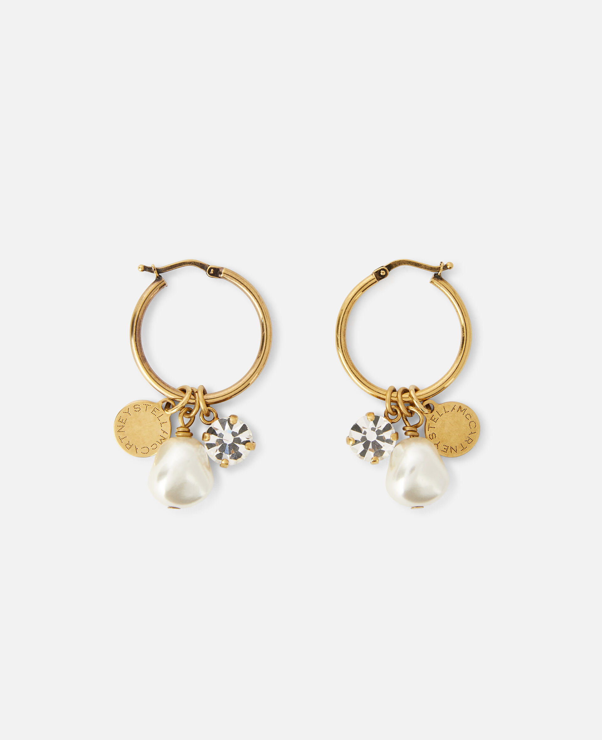 Brass, Pearl & Crystal Earrings -Yellow-large image number 1
