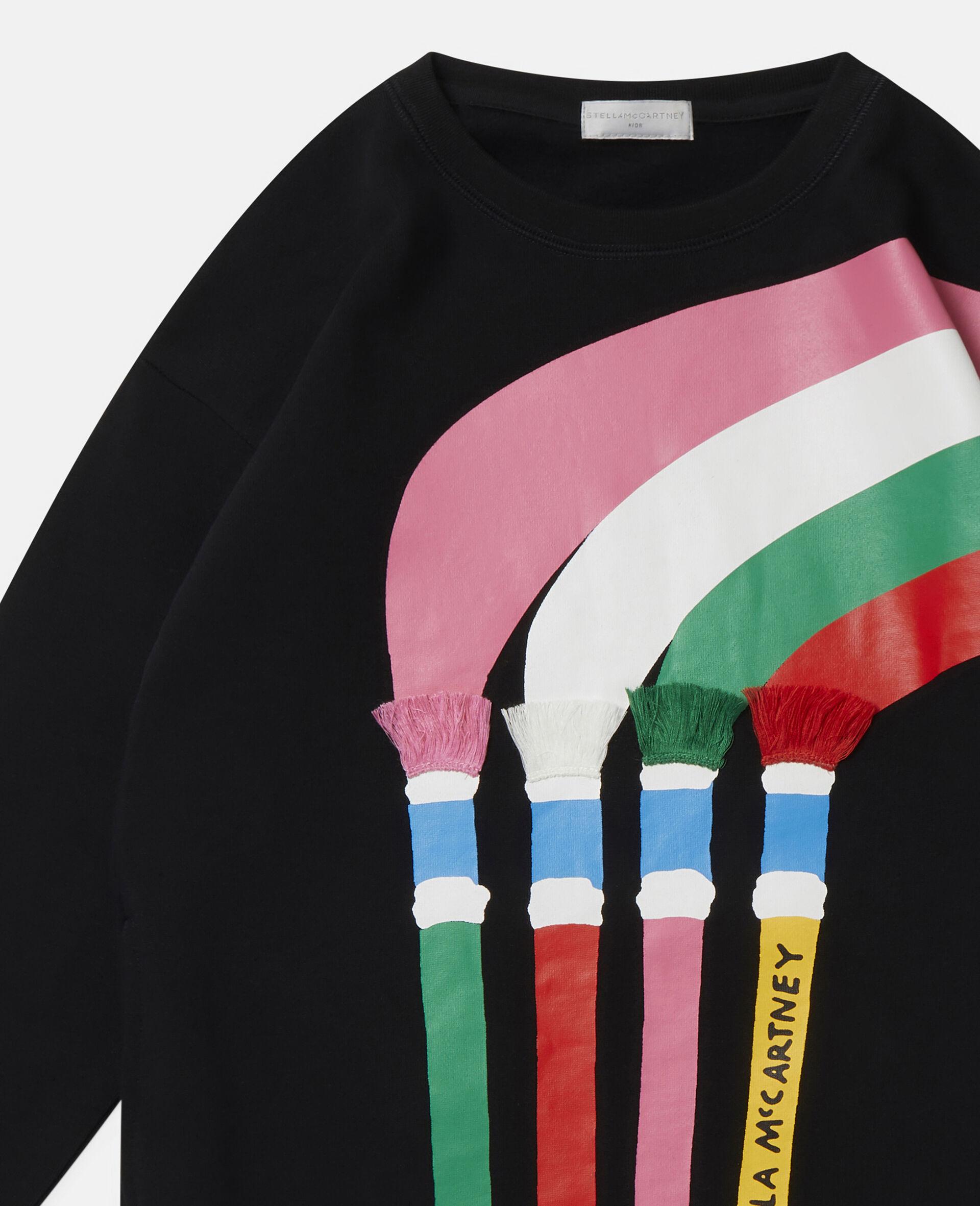 Kleid aus Baumwollfleece mit Pinsel-Print-Schwarz-large image number 1