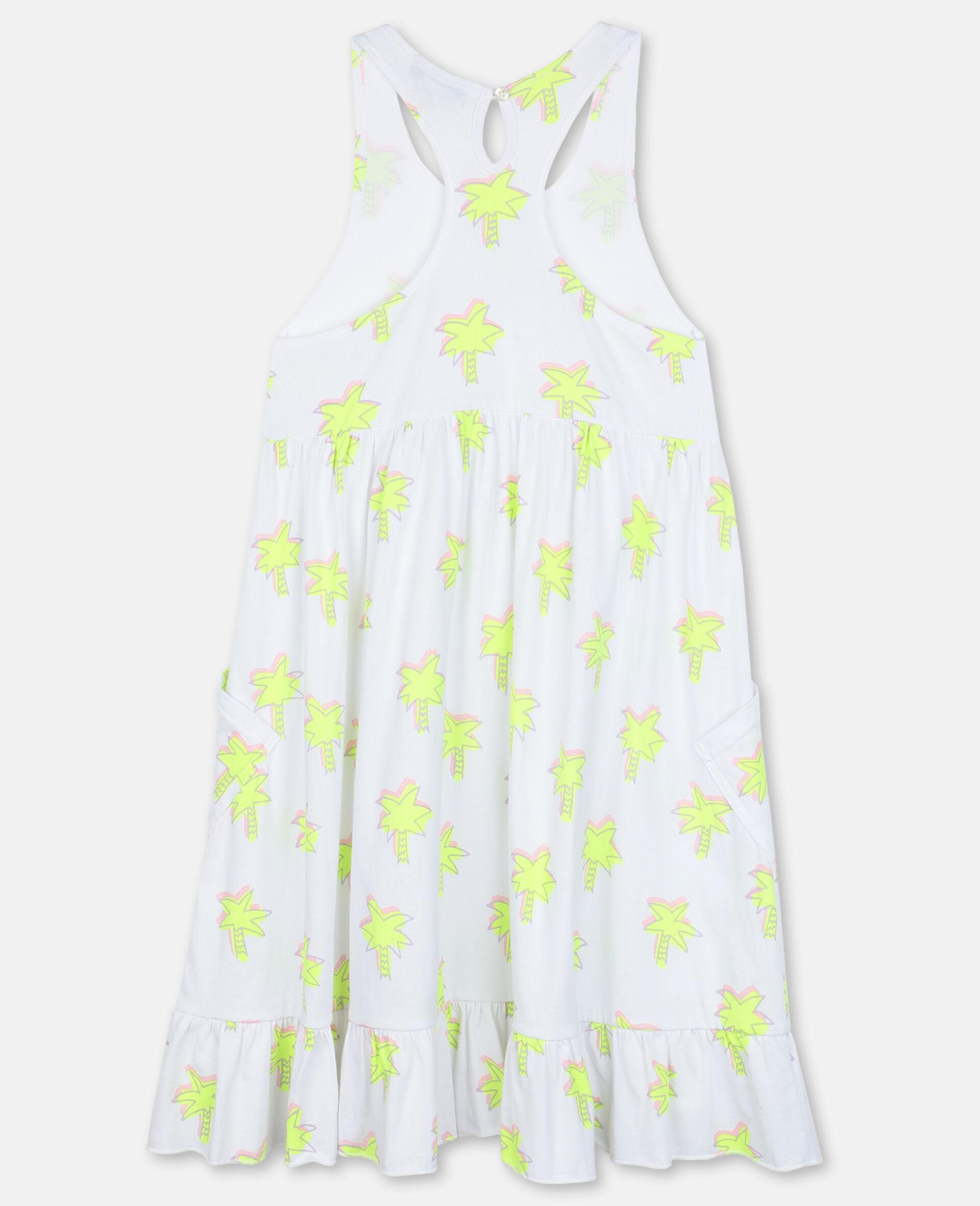Doodle Palm Cotton Dress-White-large image number 3