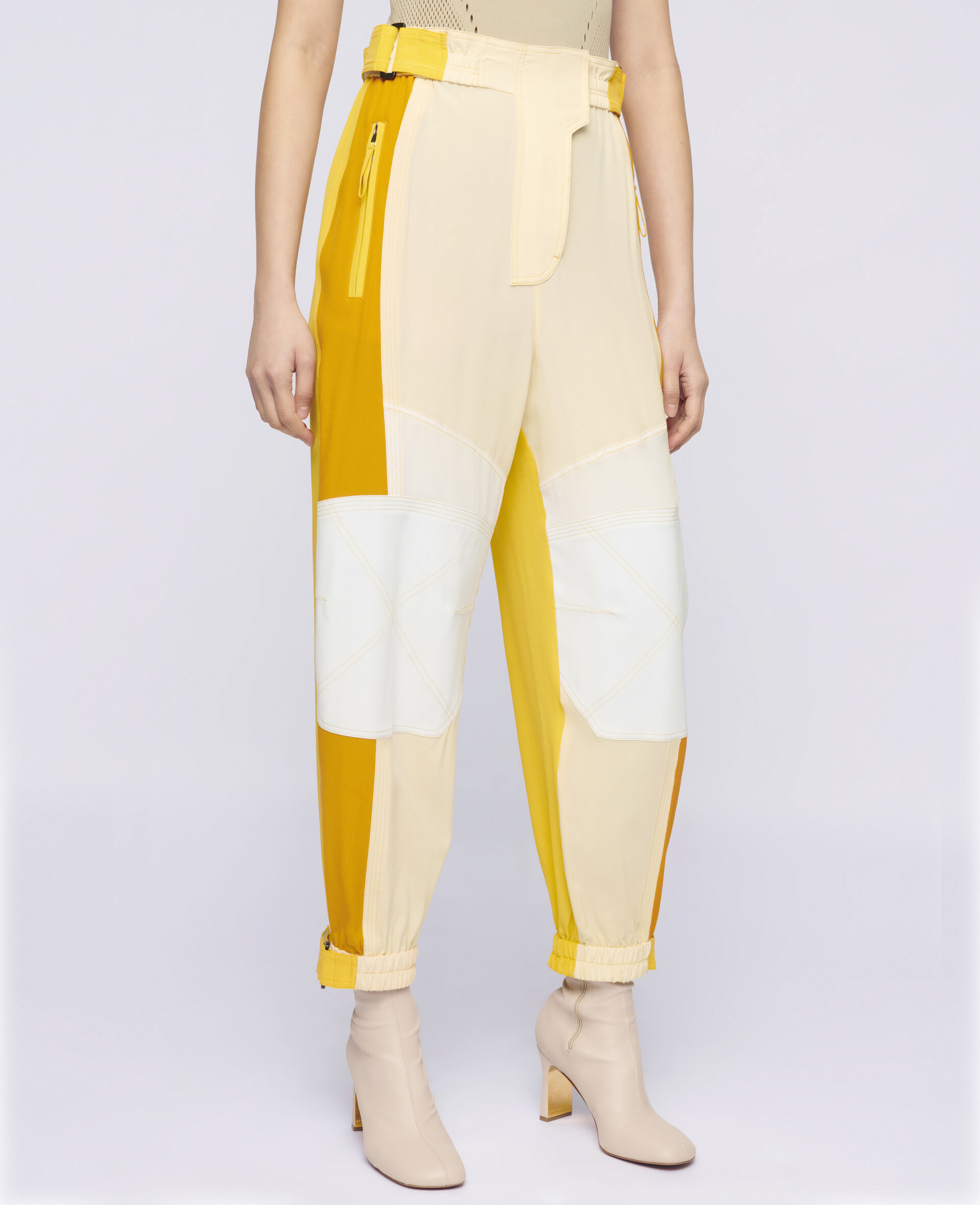 Lacey Silk Trousers-Beige-large image number 3