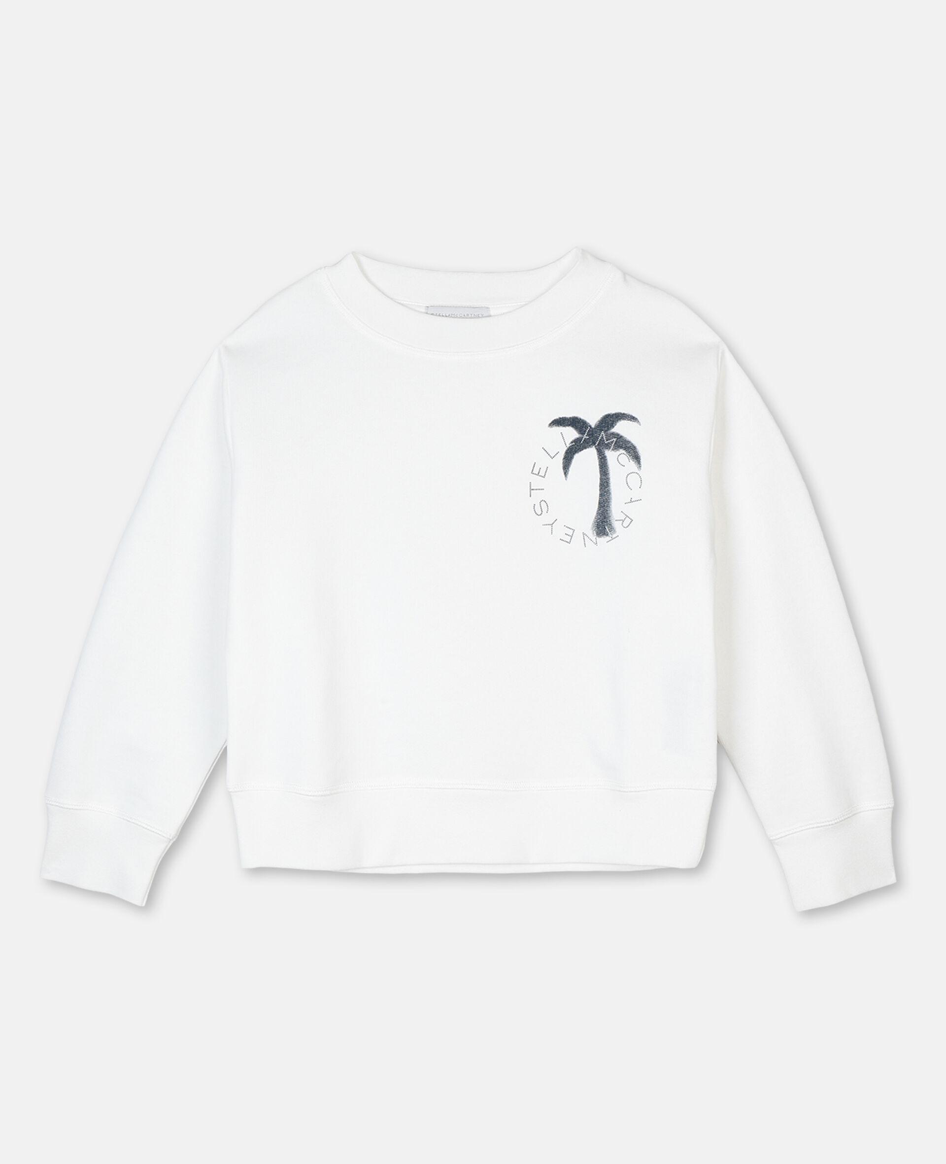 Sweat-shirt en molleton motif palmier et logo -Blanc-large image number 0
