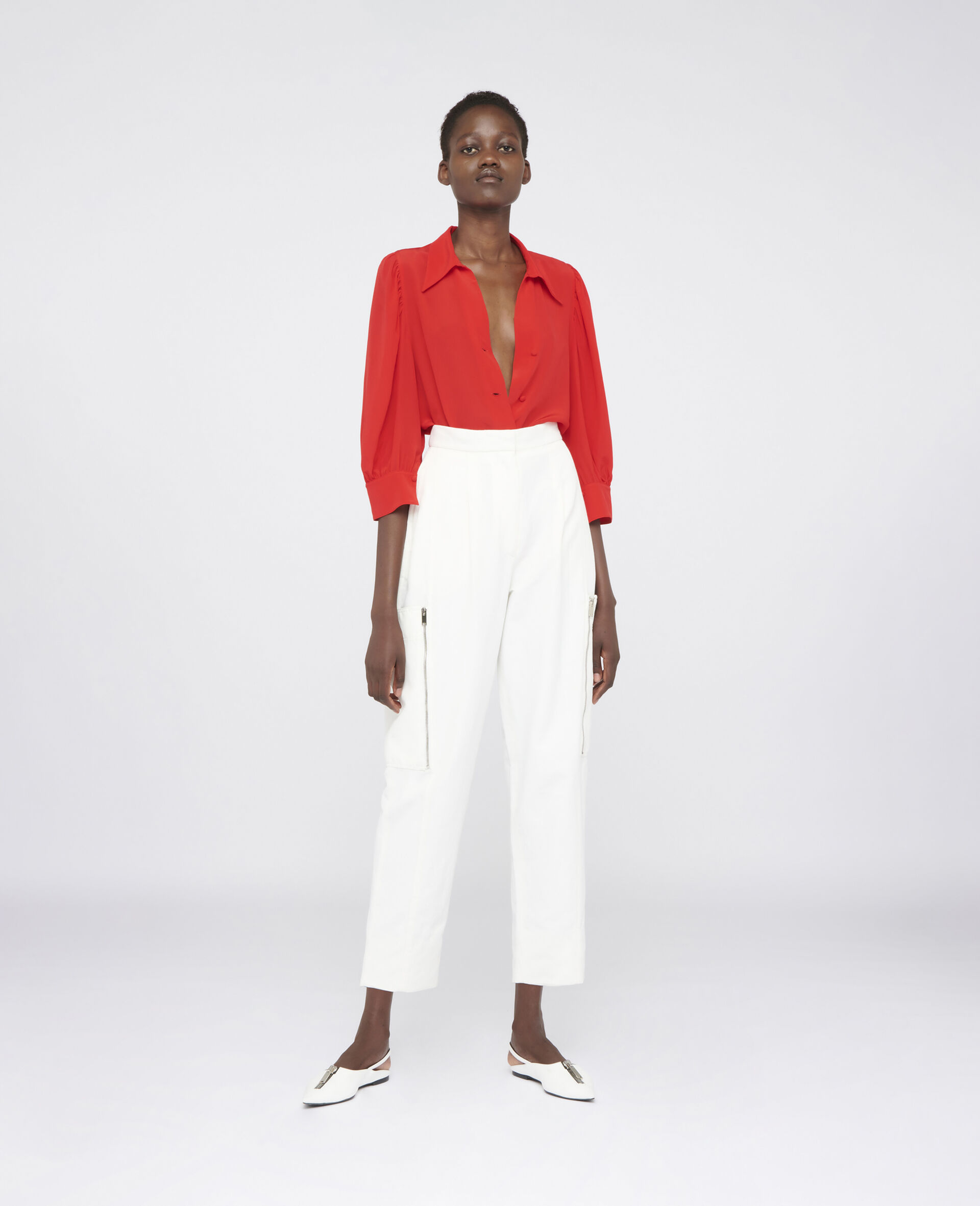 Karla Compact Cotton Pants-White-large image number 1