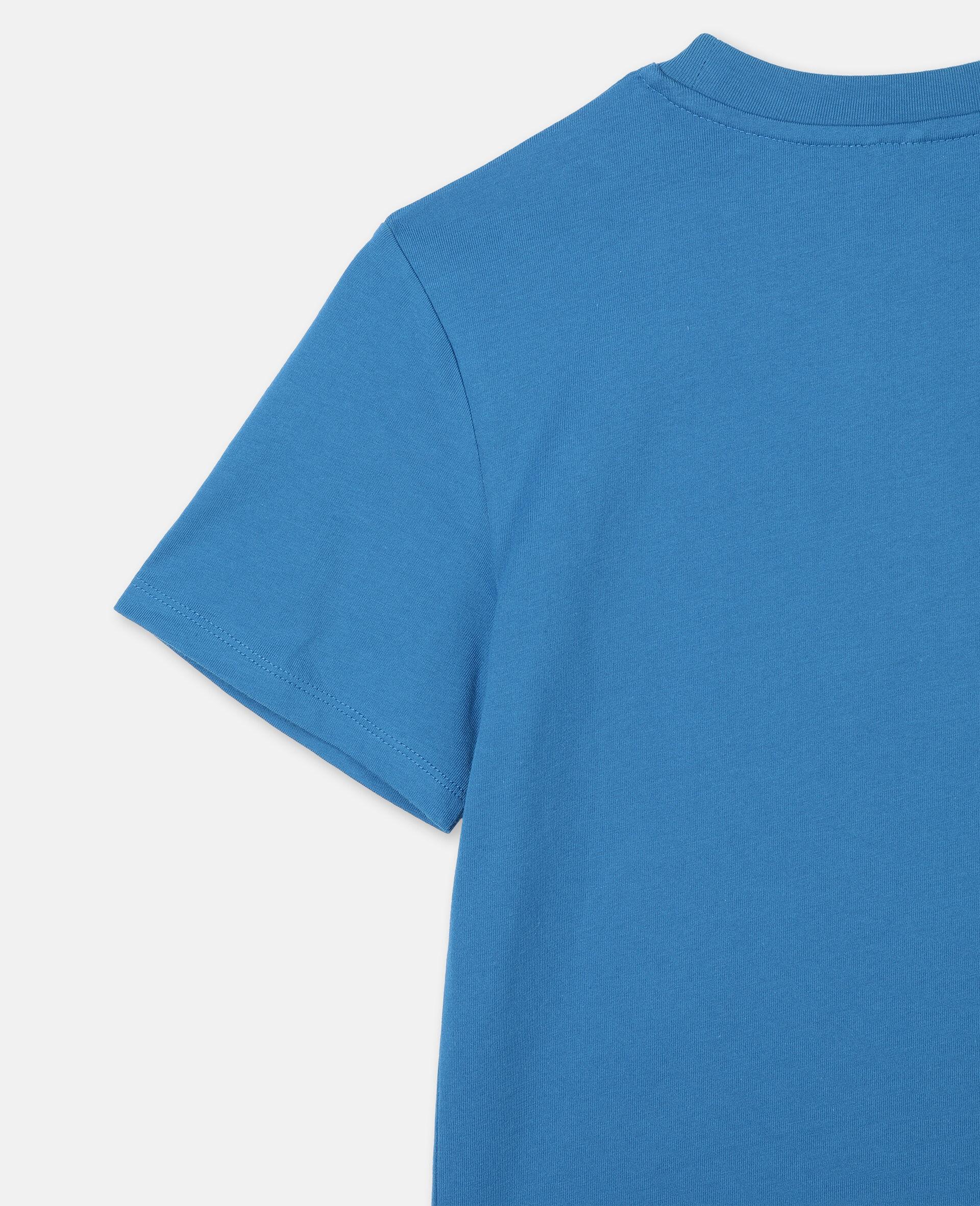 Logo 阔型棉质运动 T 恤 -蓝色-large image number 2