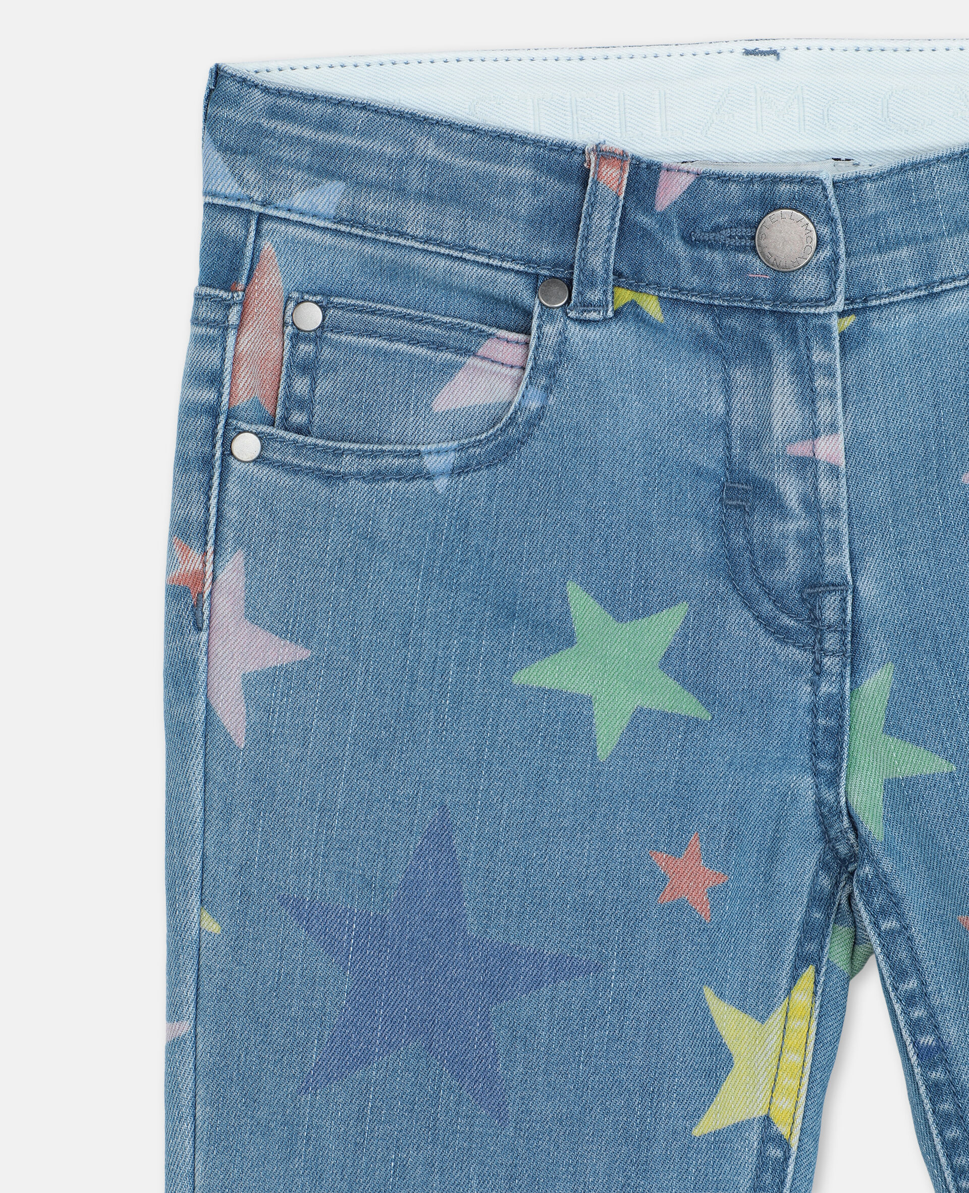 Multicolor Stars Skinny Denim Pants-Multicoloured-large image number 1