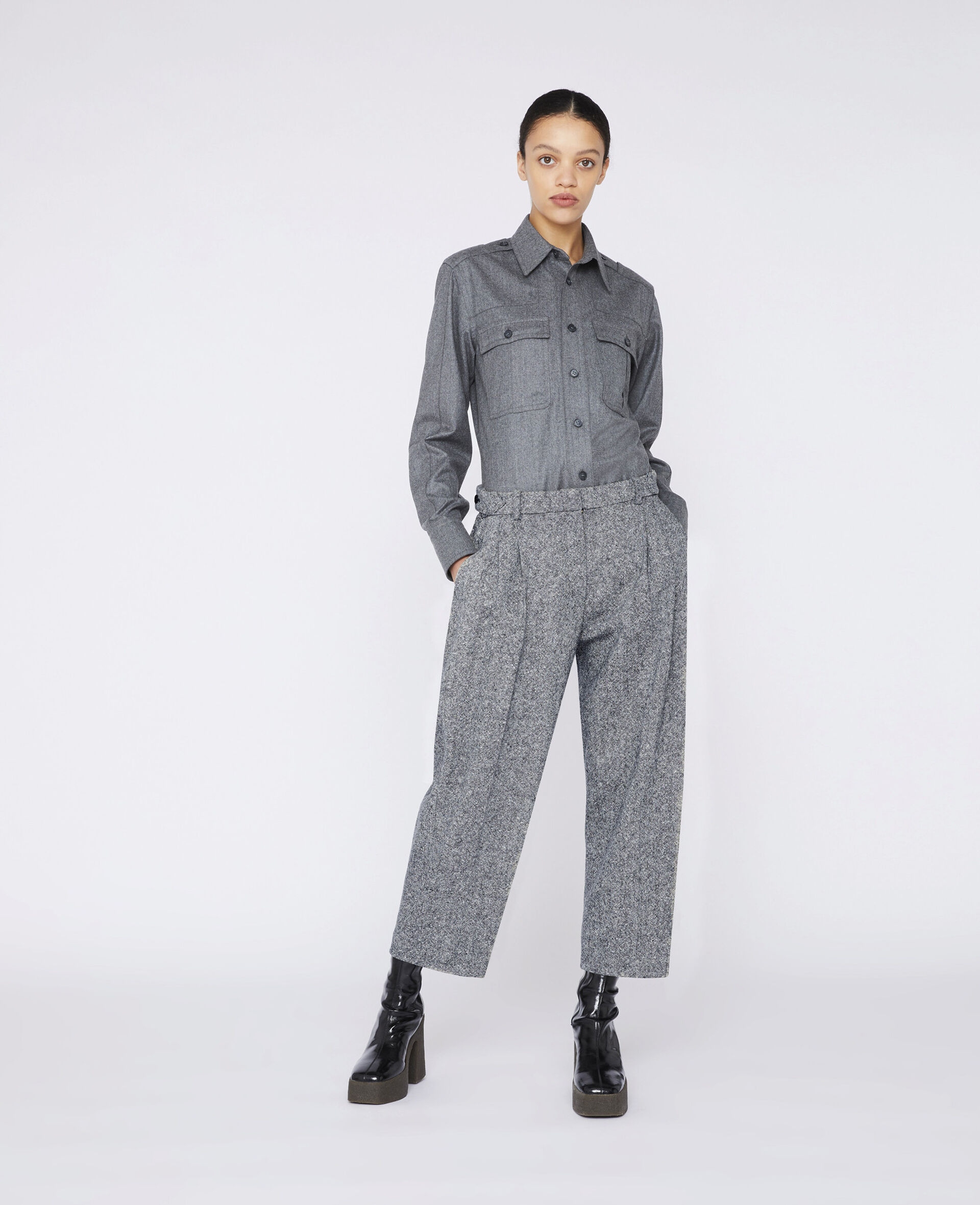 Wool Flannel Shirt-Grau-large image number 1