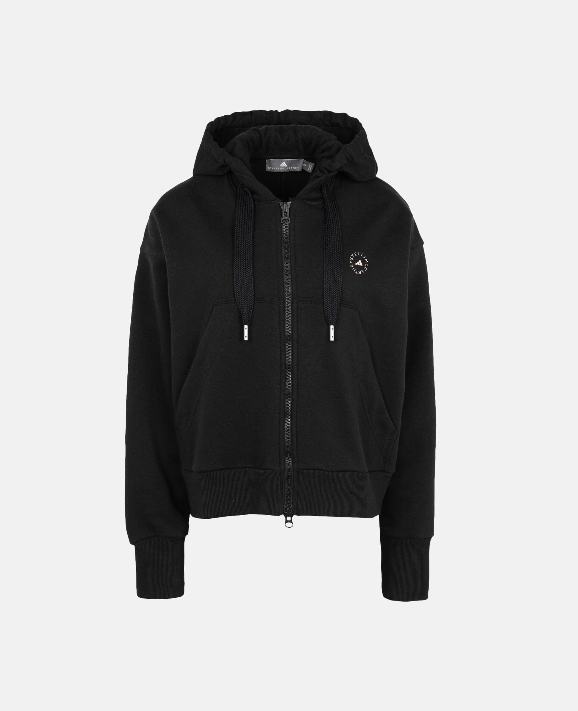 Black Full-zipper Cropped Hoodie-Black-large image number 0