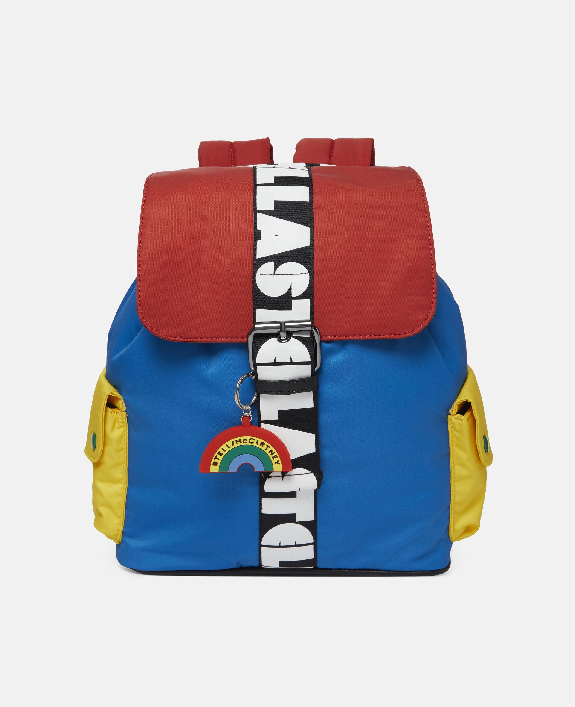 Kleiner Rucksack in Blockfarben mit Logo -Bunt-large image number 0
