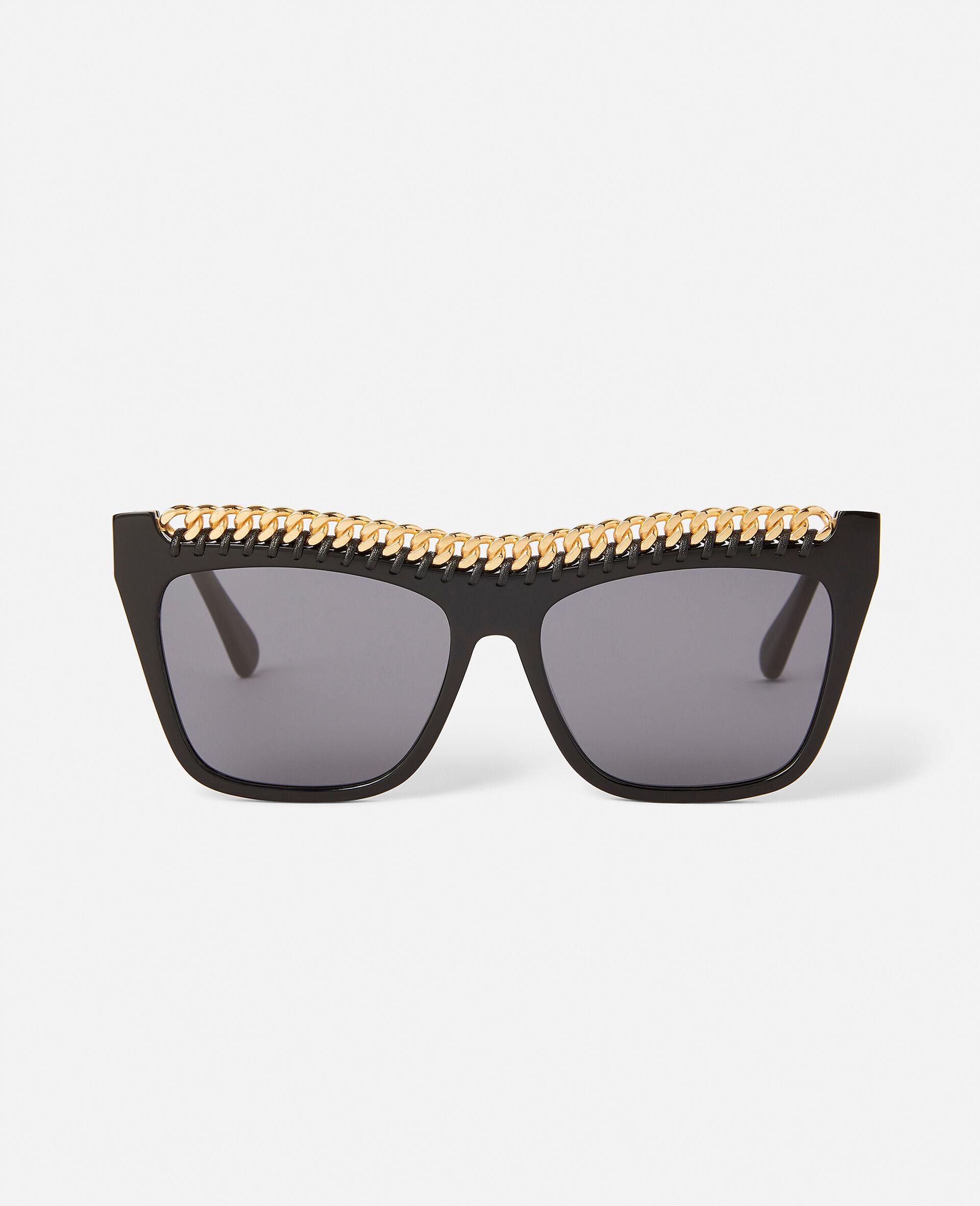 Shiny Black Square Sunglasses-Black-large image number 0