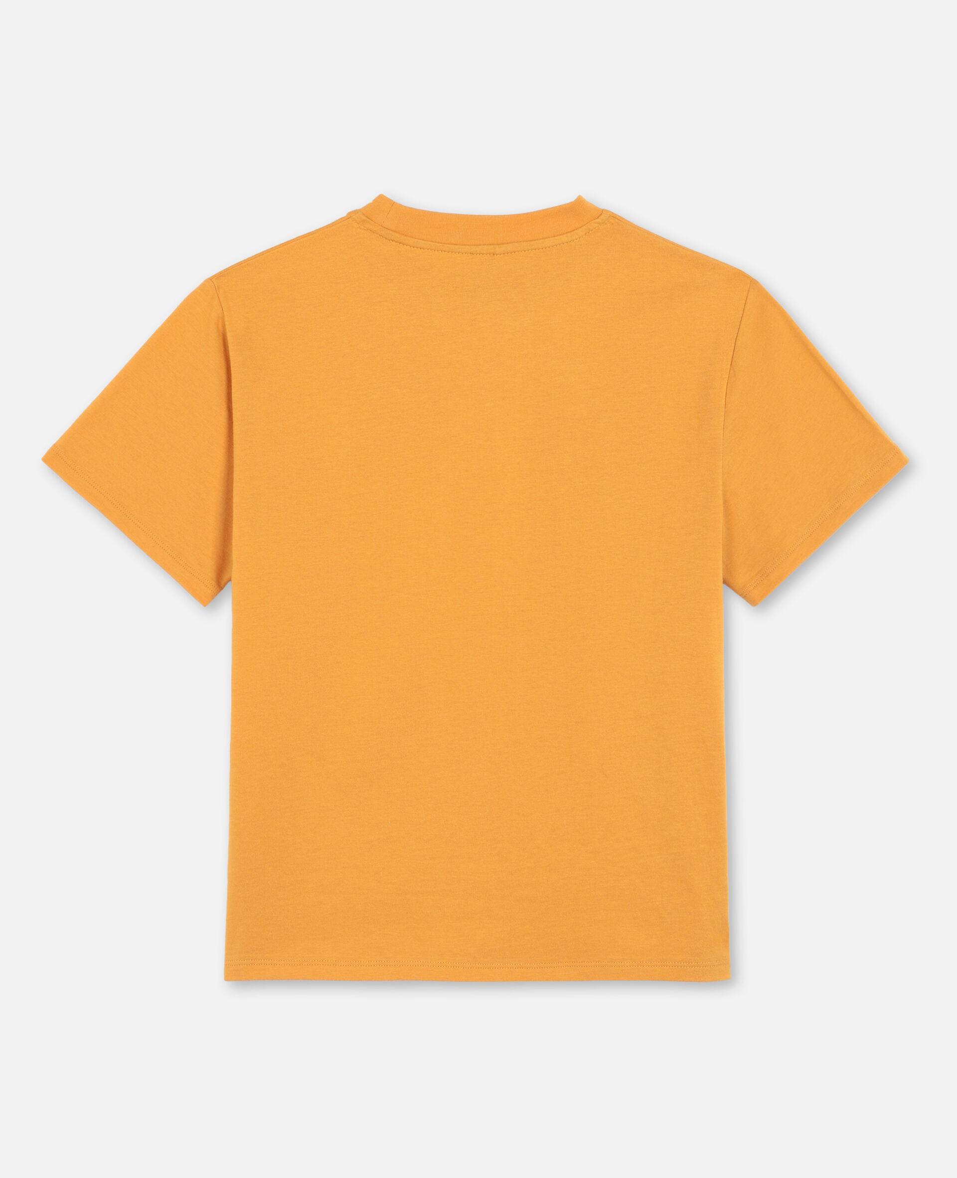 T-shirt oversize en coton avec écussons chat -Orange-large image number 3