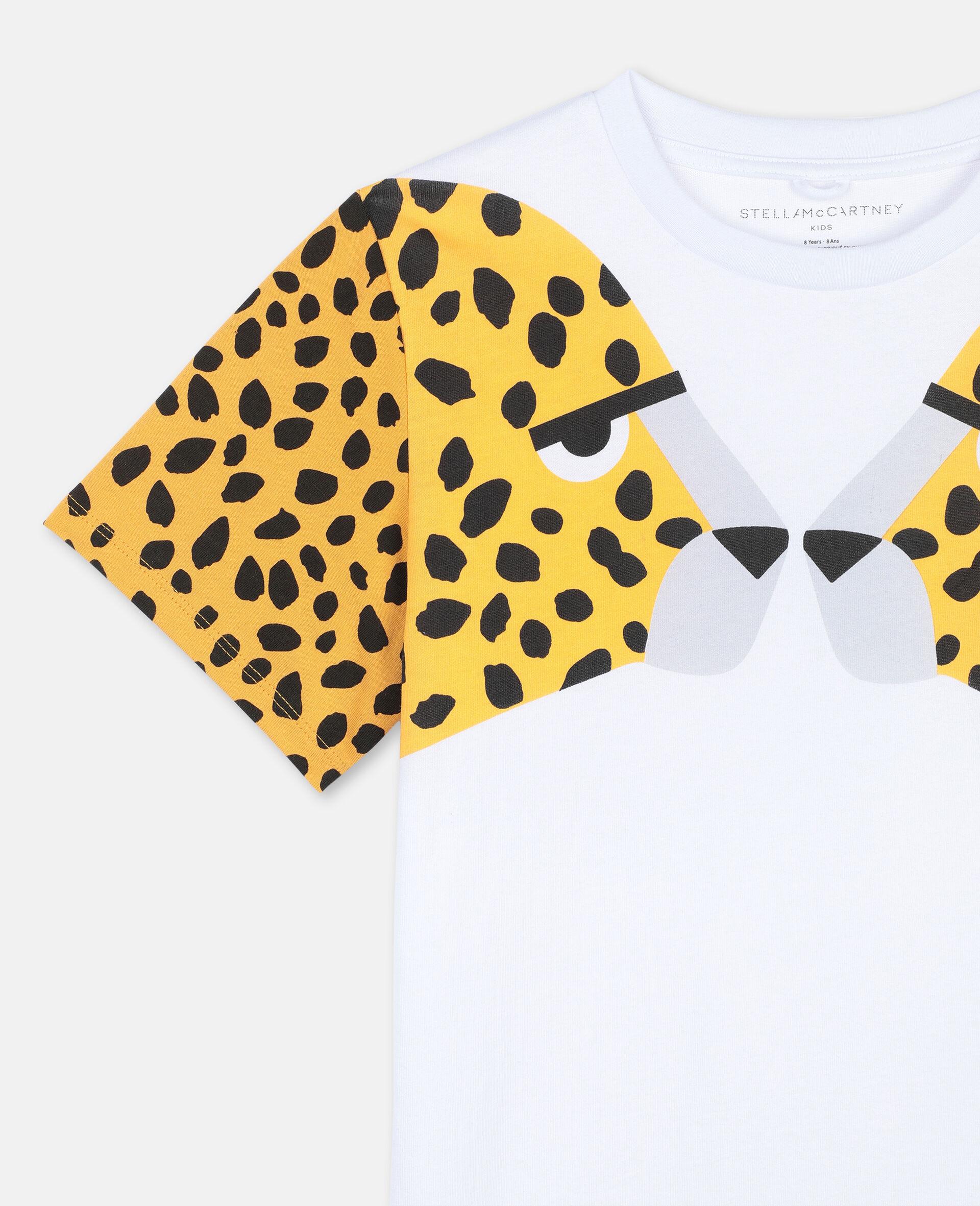 Cheetah Cotton T-shirt -White-large image number 2