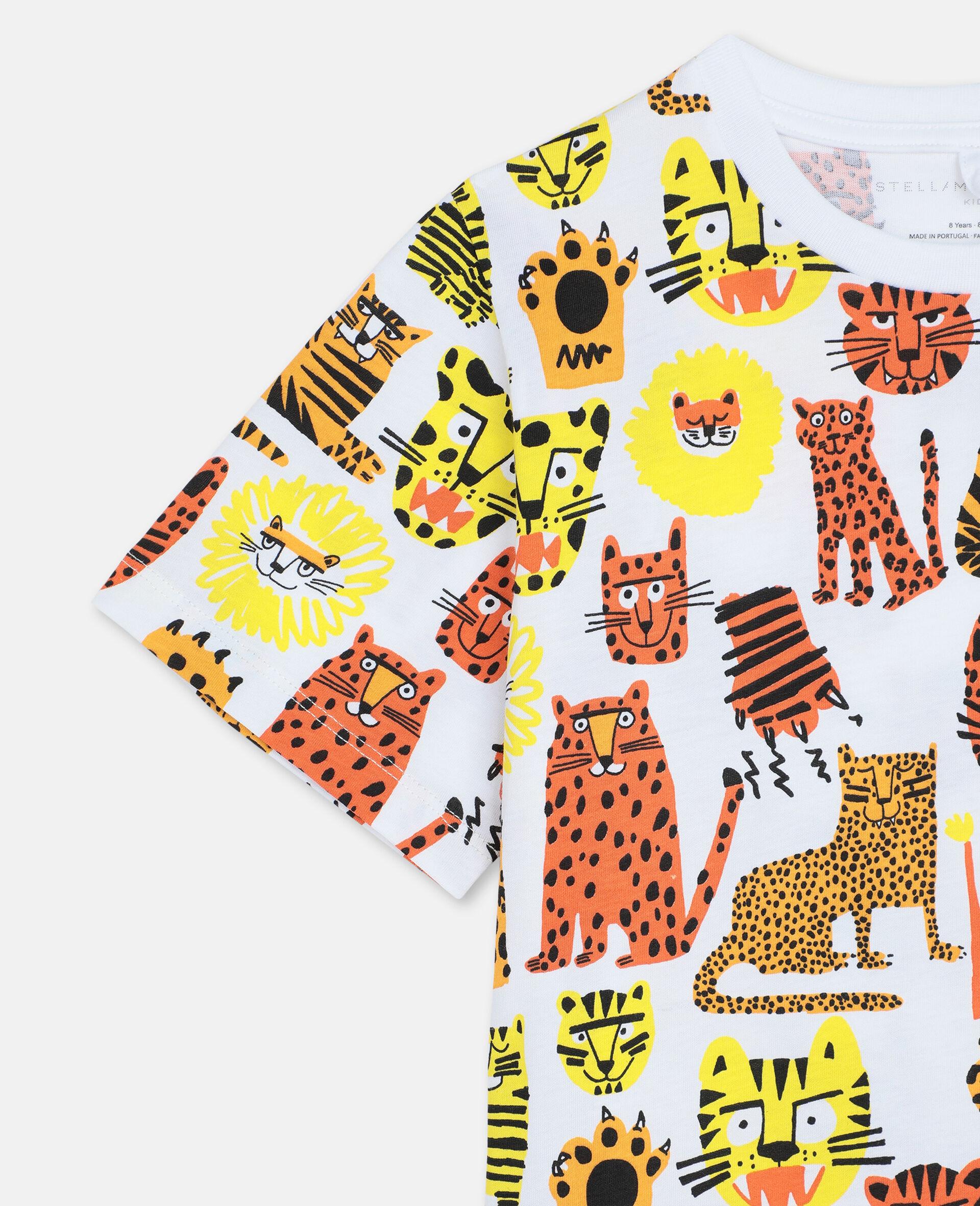 Baumwoll-T-Shirt mit Wildkatzen-Print -Gelb-large image number 1