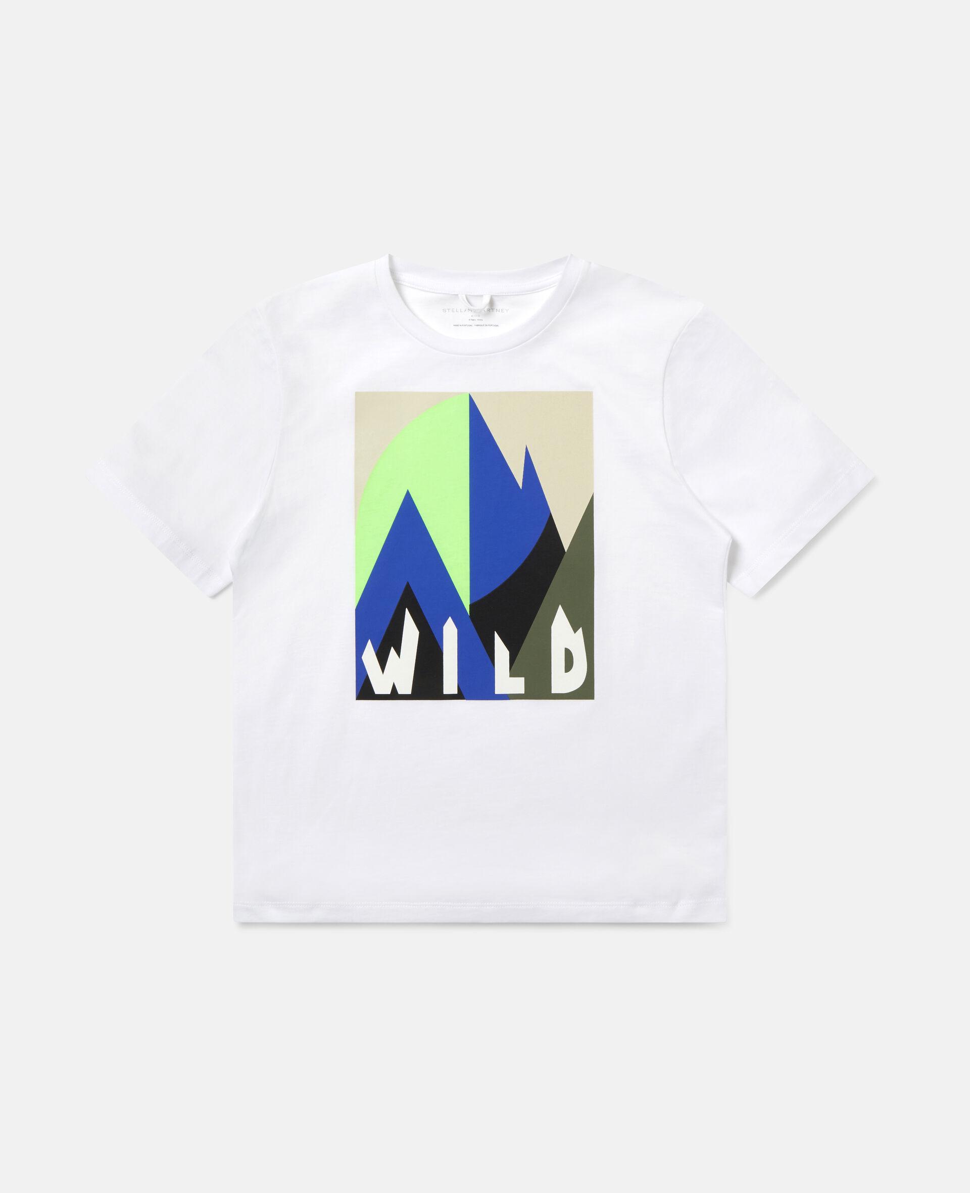 Übergroßes T-Shirt mit grafischem Bergmotiv-Weiß-large image number 0