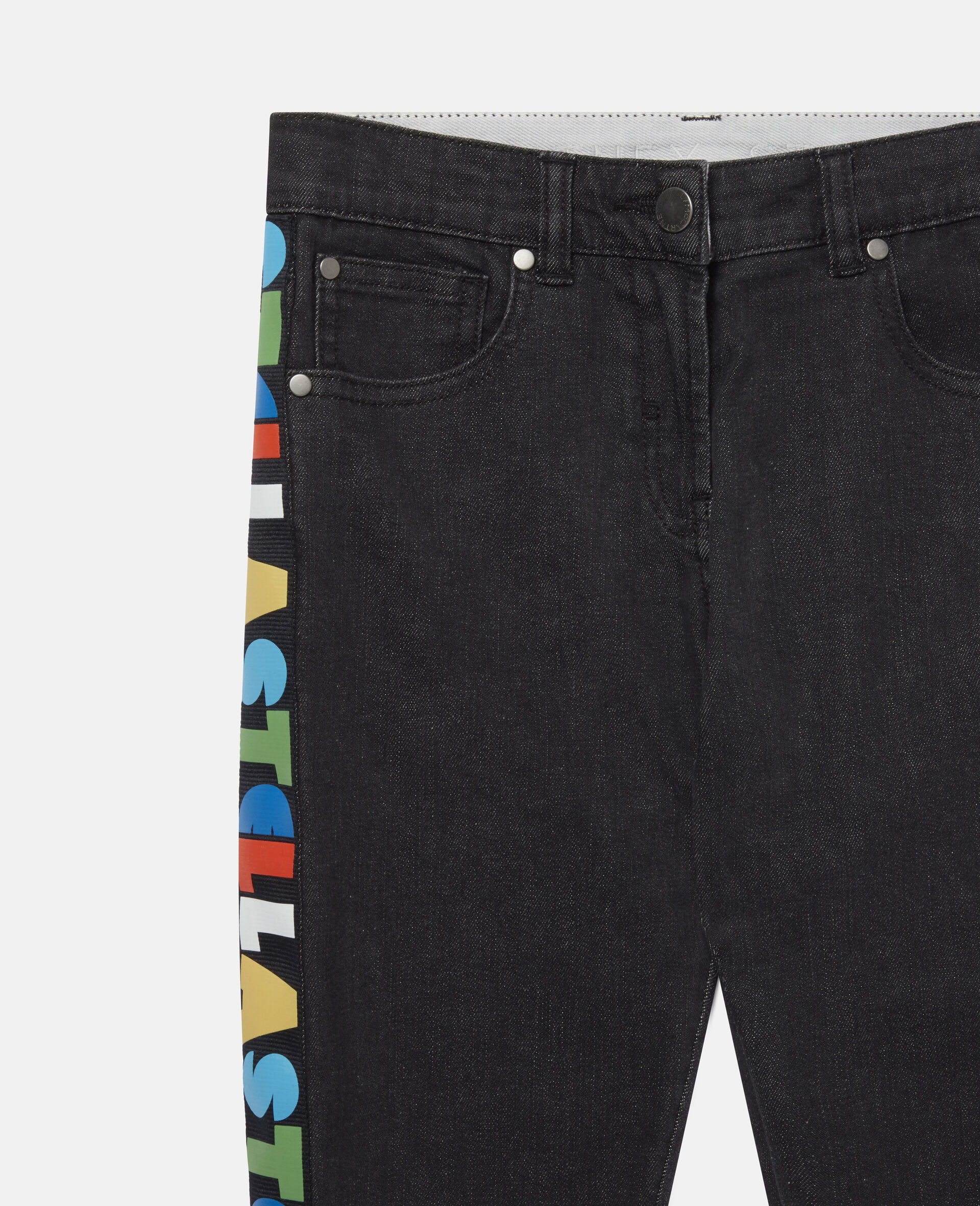 Jeans in Denim con Logo Stella a Nastro-Nero-large image number 1