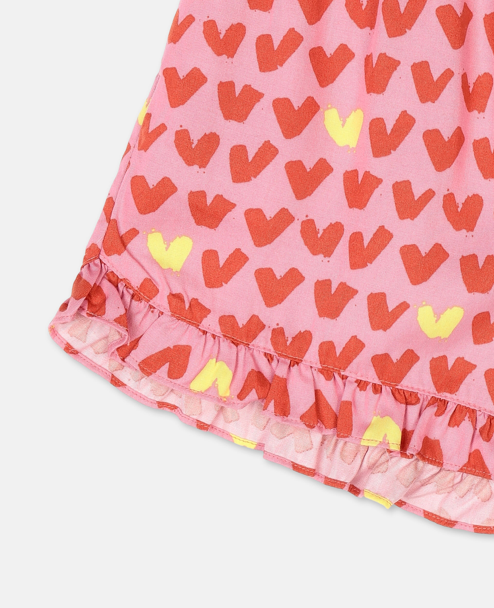Hearts Viscose Twill Shorts -Pink-large image number 1
