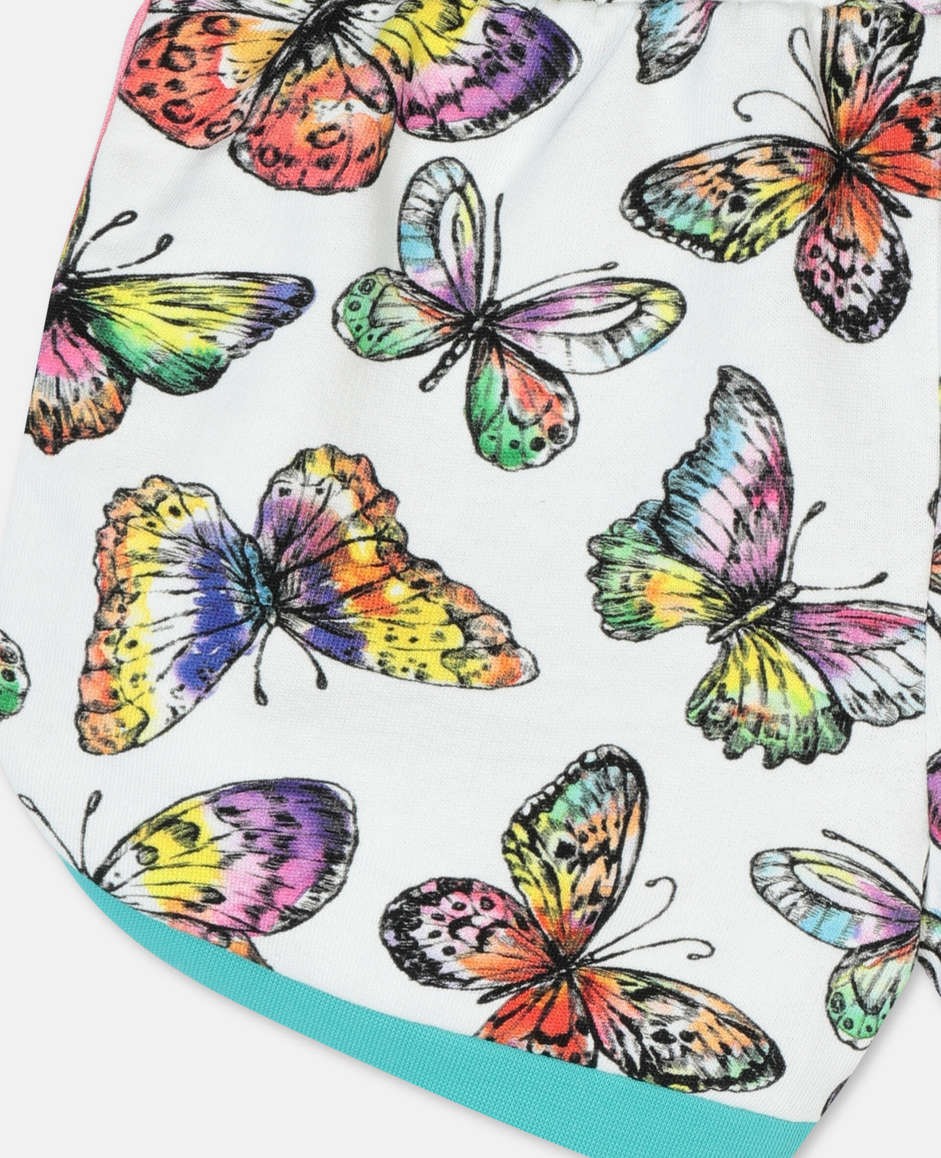 Butterfly Cotton Fleece Shorts-Multicoloured-large image number 2