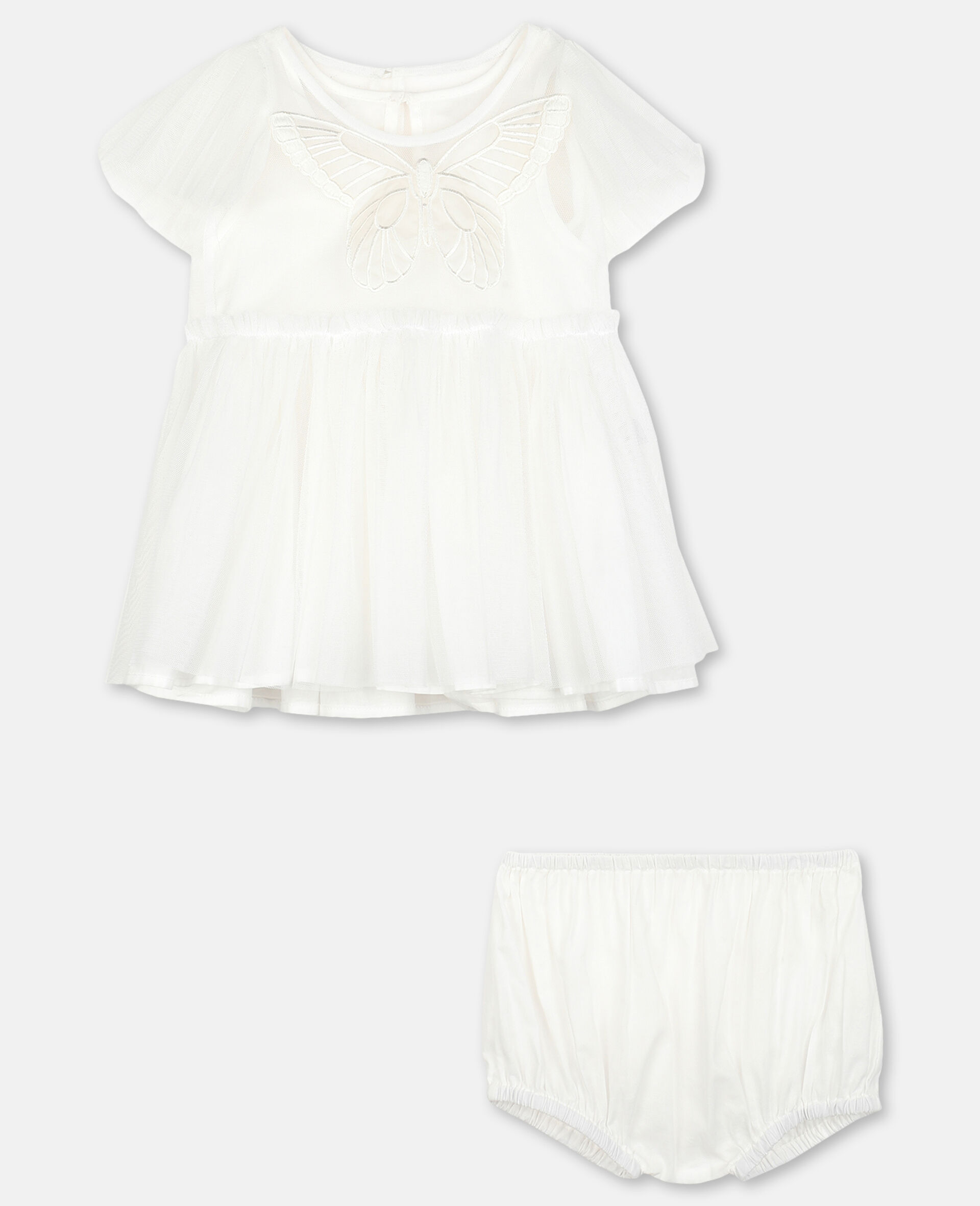 Kleid aus Tüll mit Schmetterling-Aufnäher -Weiß-large image number 0