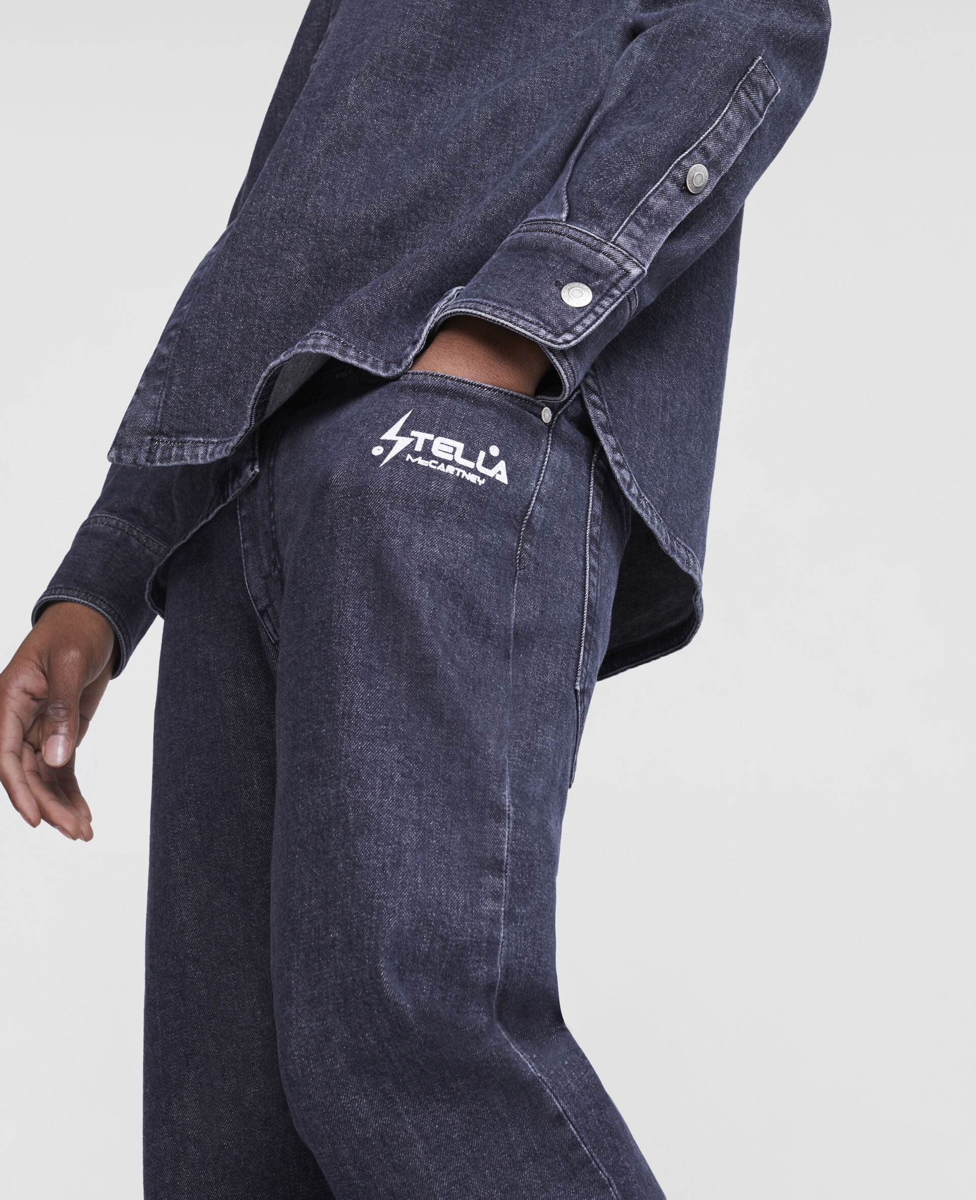 Jeans in Denim con Logo Stella Tom Tosseyn-Nero-large image number 4