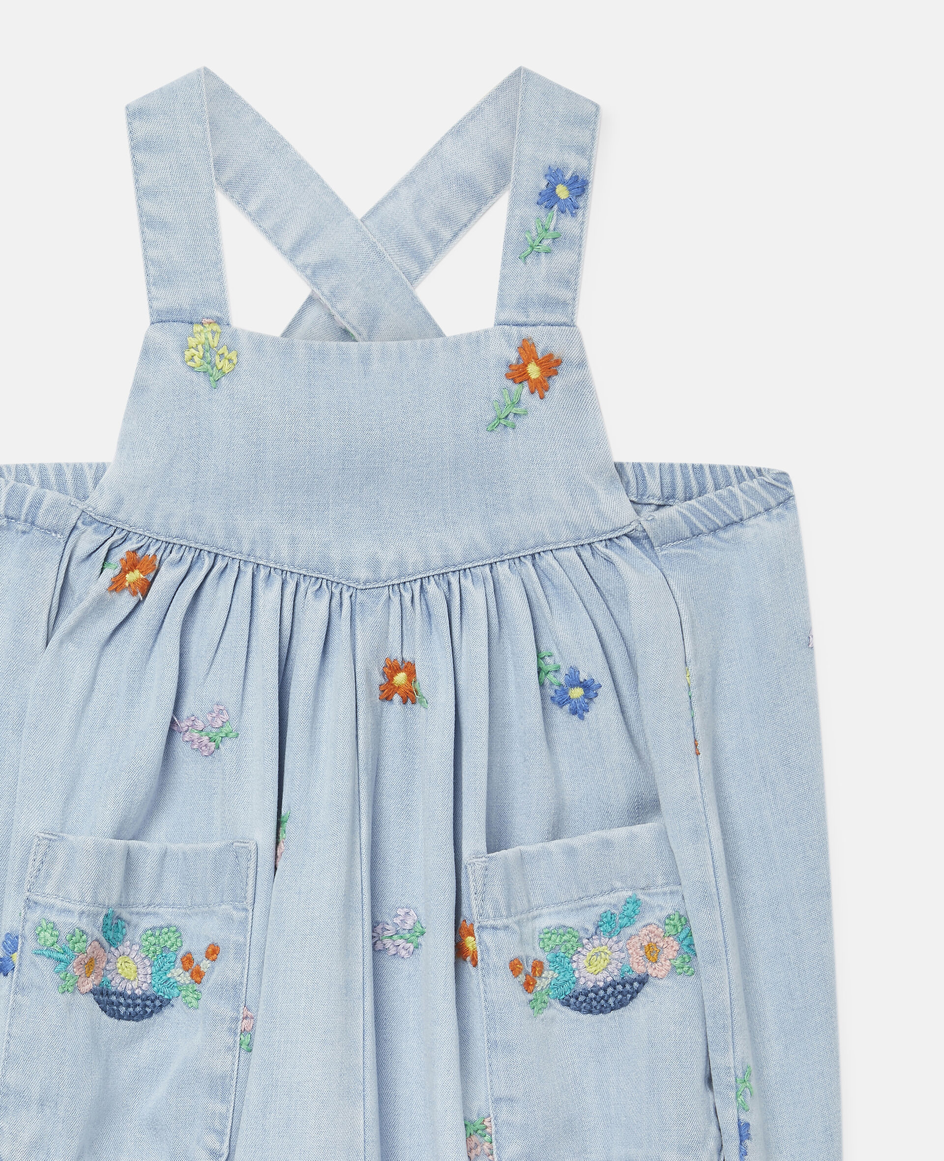 Embroidered Flowers Denim Dungarees-Blue-large image number 2