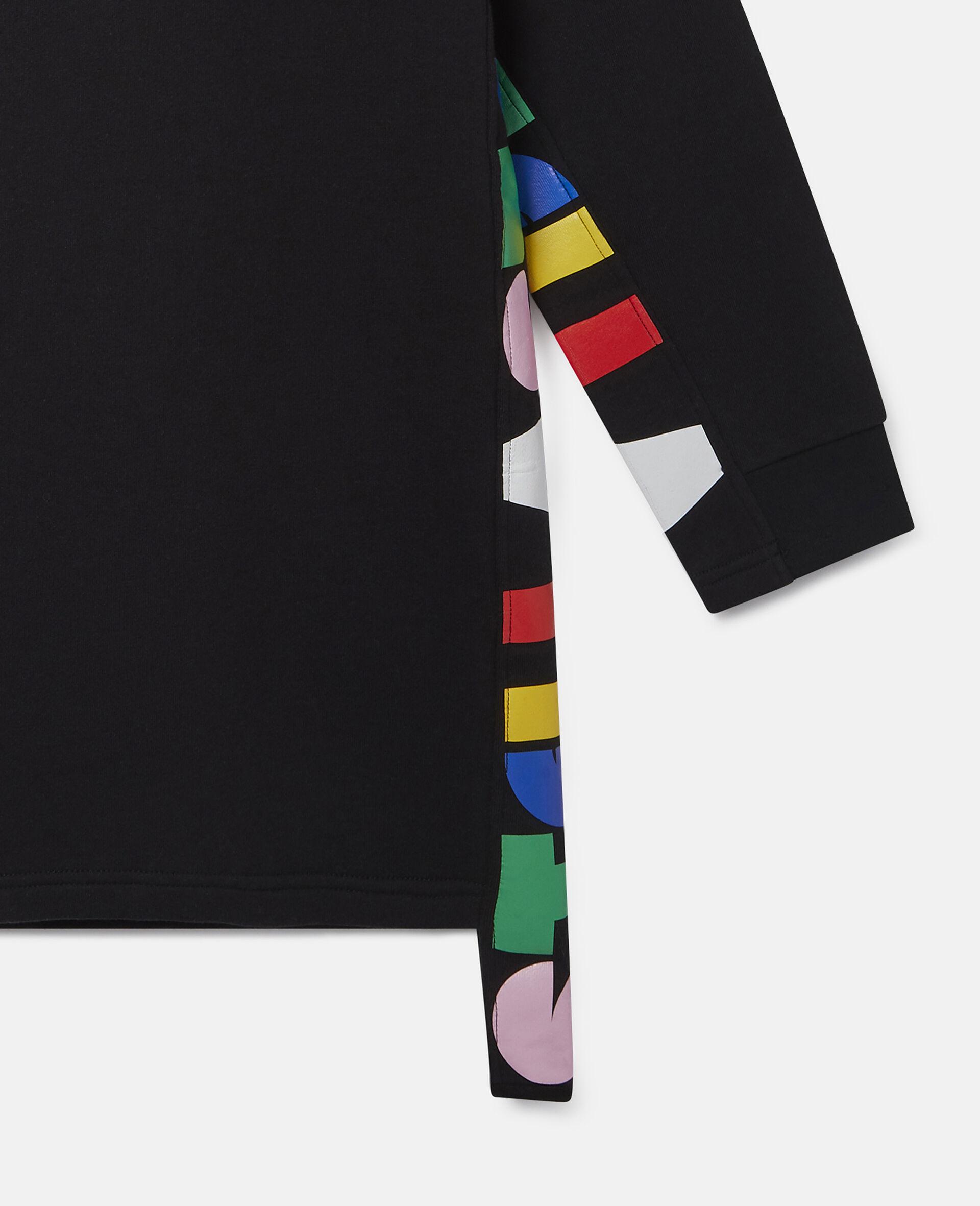 Oversize Hooded Fleece Dress-Black-large image number 1