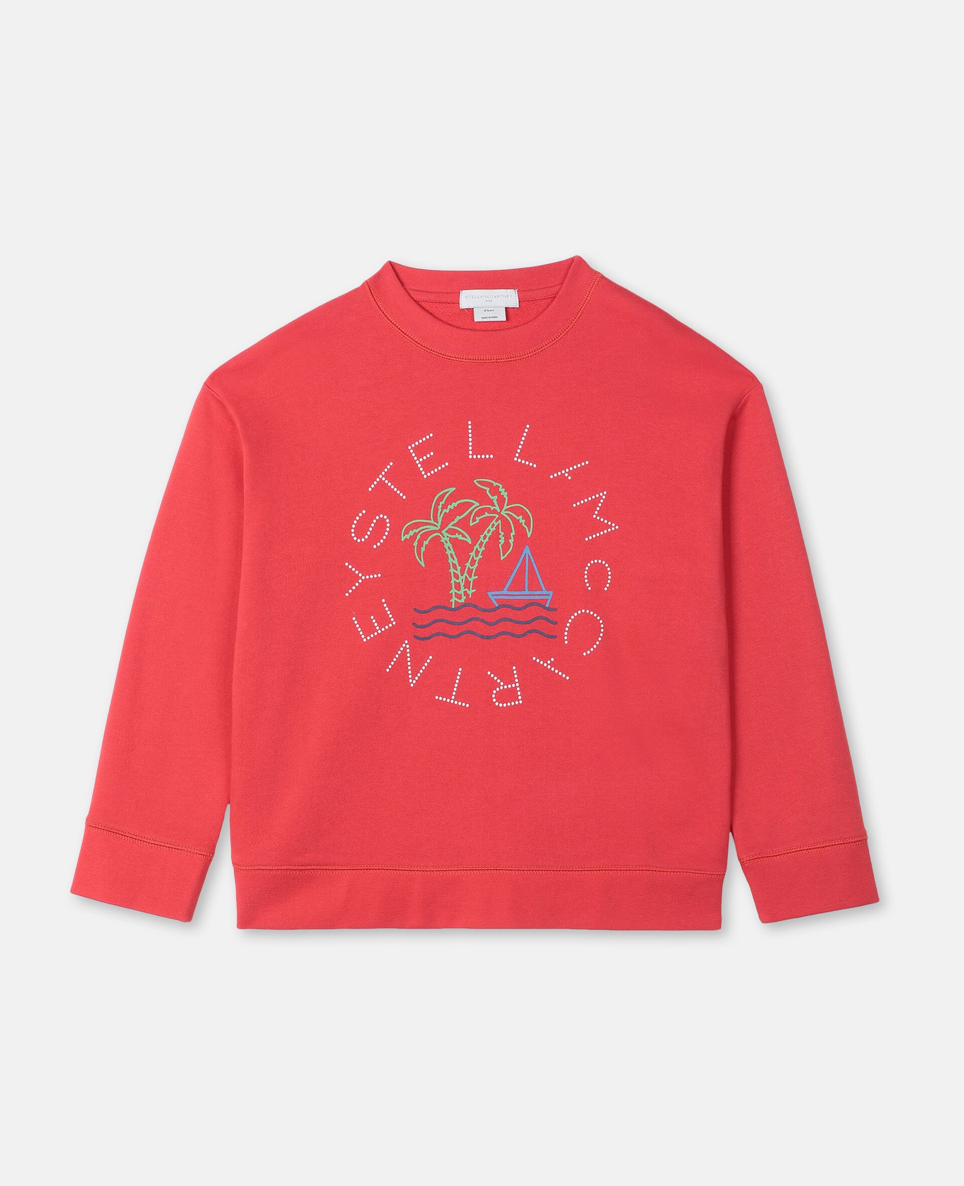 Oversize Logo Sailing Cotton Sweatshirt -Red-large image number 0