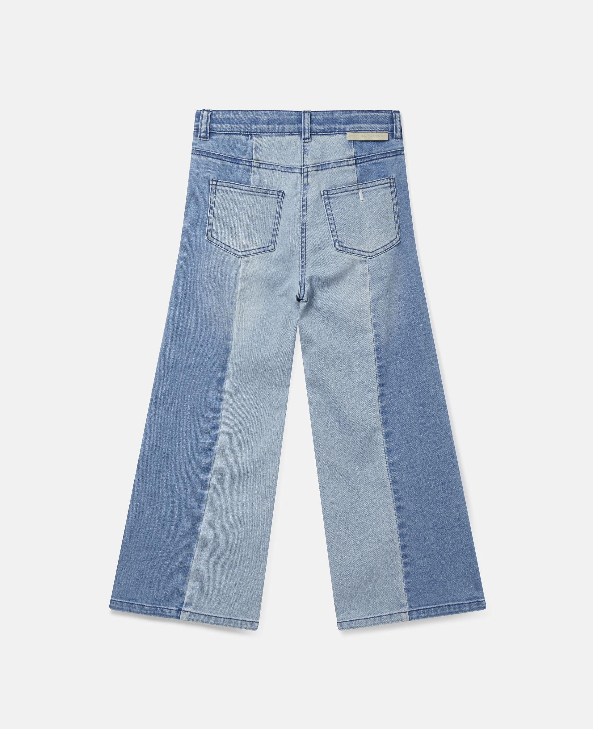 双色牛仔长裤 -蓝色-large image number 3