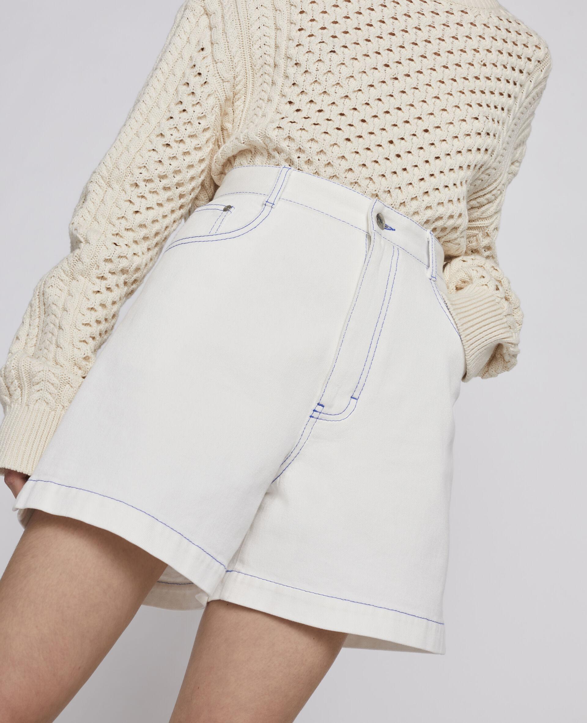 23 OBS Denim Shorts-White-large image number 3