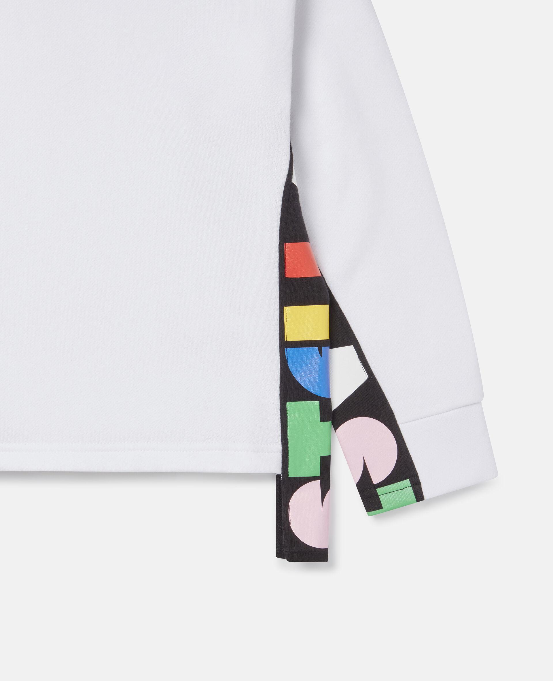 Übergroßes Sweatshirt aus Fleece mit Stella-Print -Weiß-large image number 2