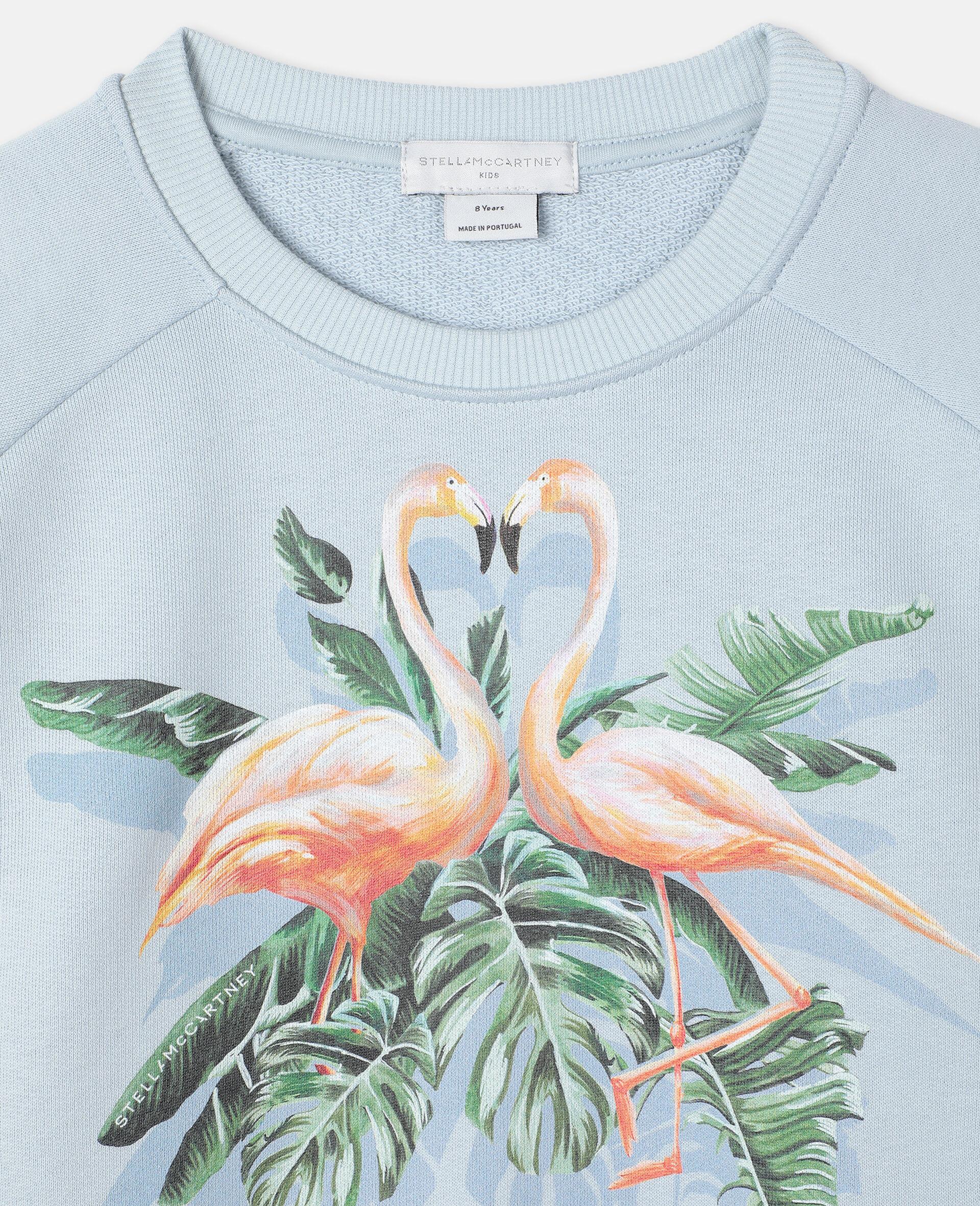 Sweat-shirt en molleton motif flamant rose effet peint -Bleu-large image number 2