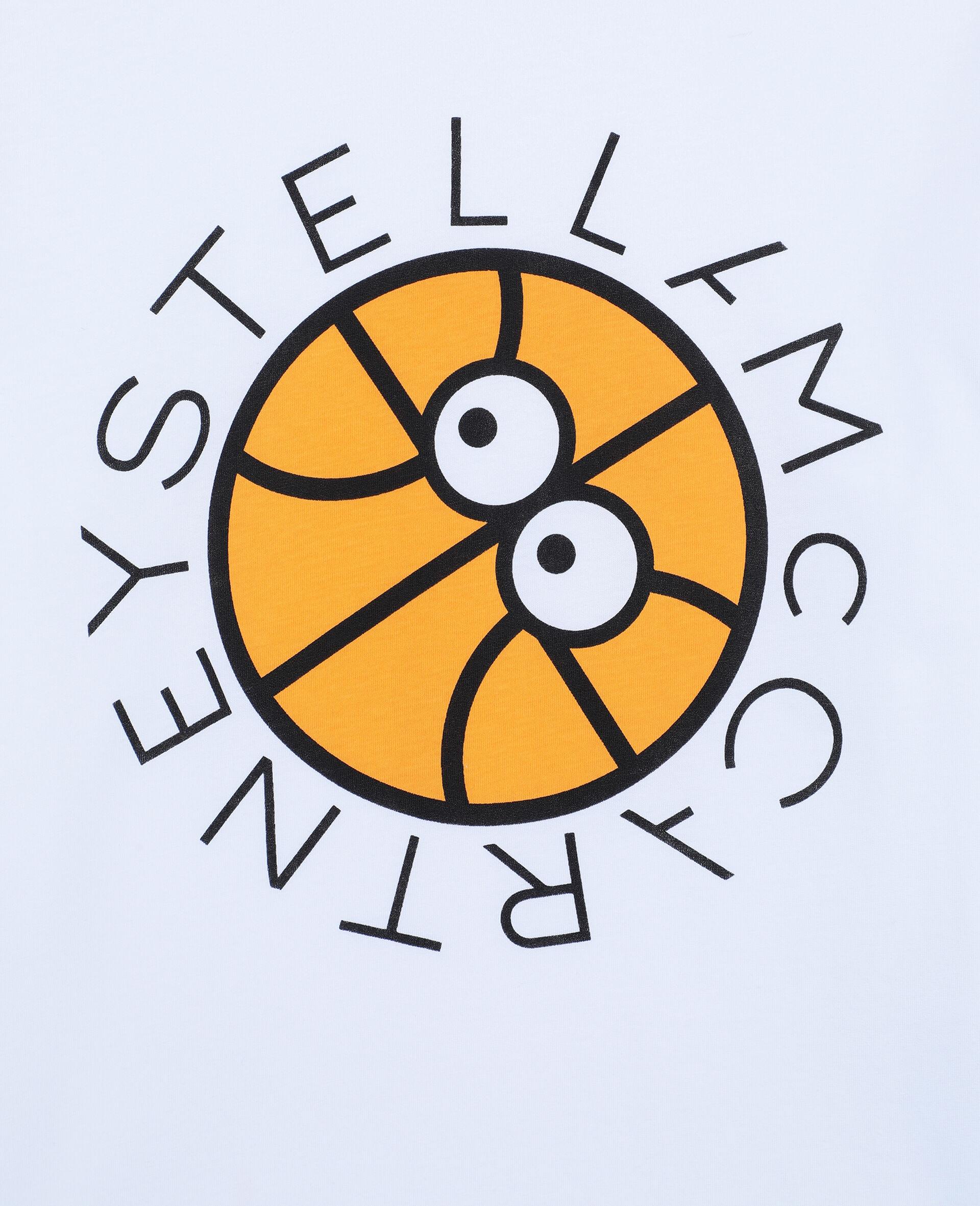 Oversize Basketball Logo Cotton T-shirt -White-large image number 1