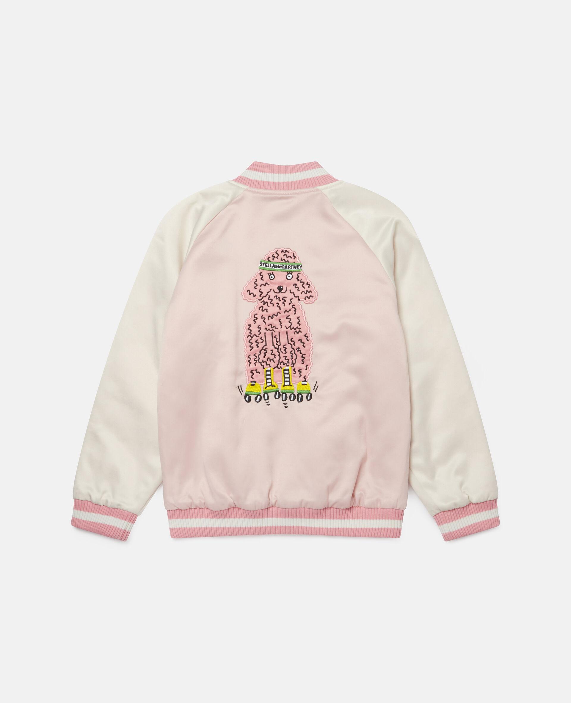 Embroidered Poodles Satin Jacket-Pink-large image number 3