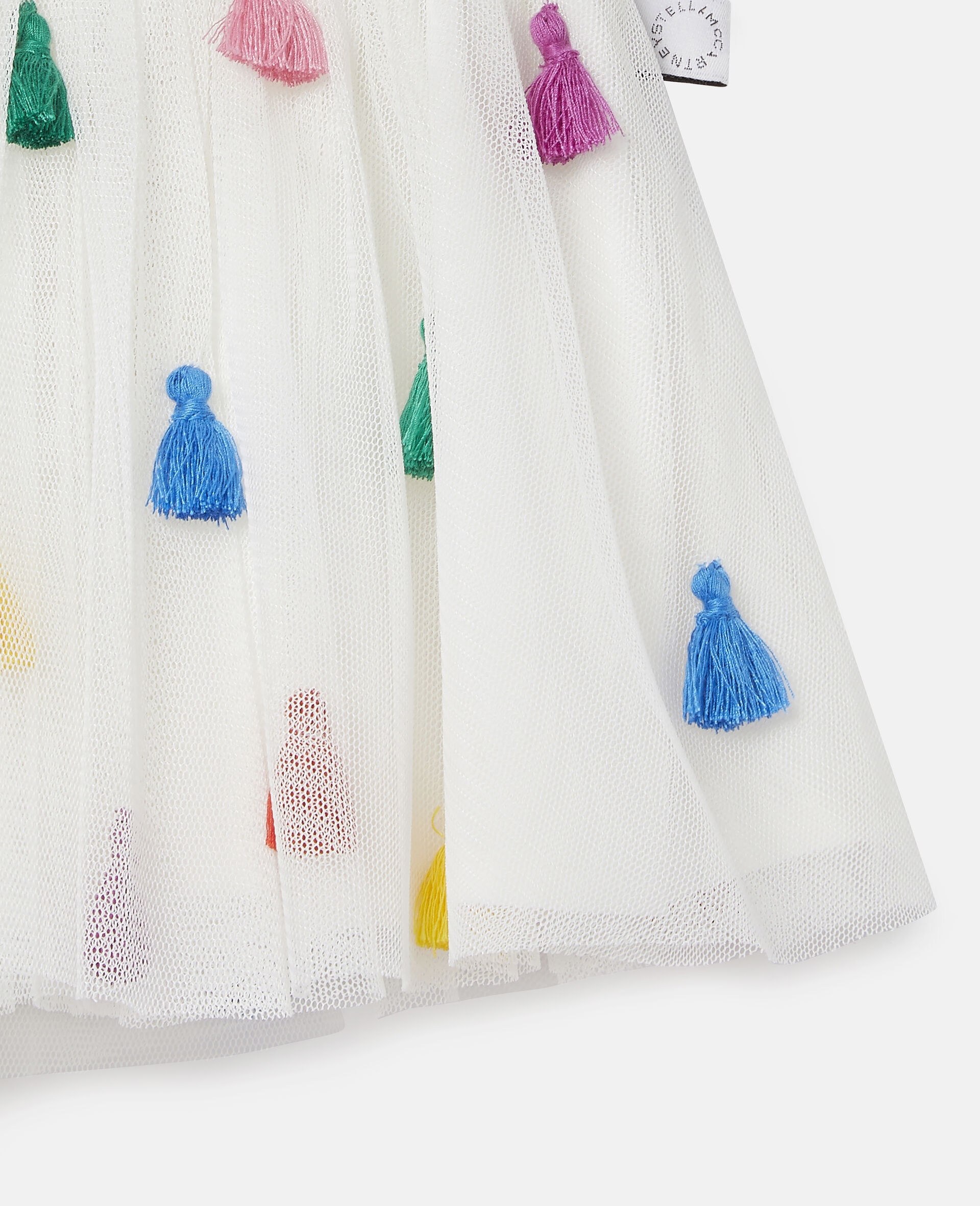 Gonna in Tulle con Nappine-Bianco-large image number 1