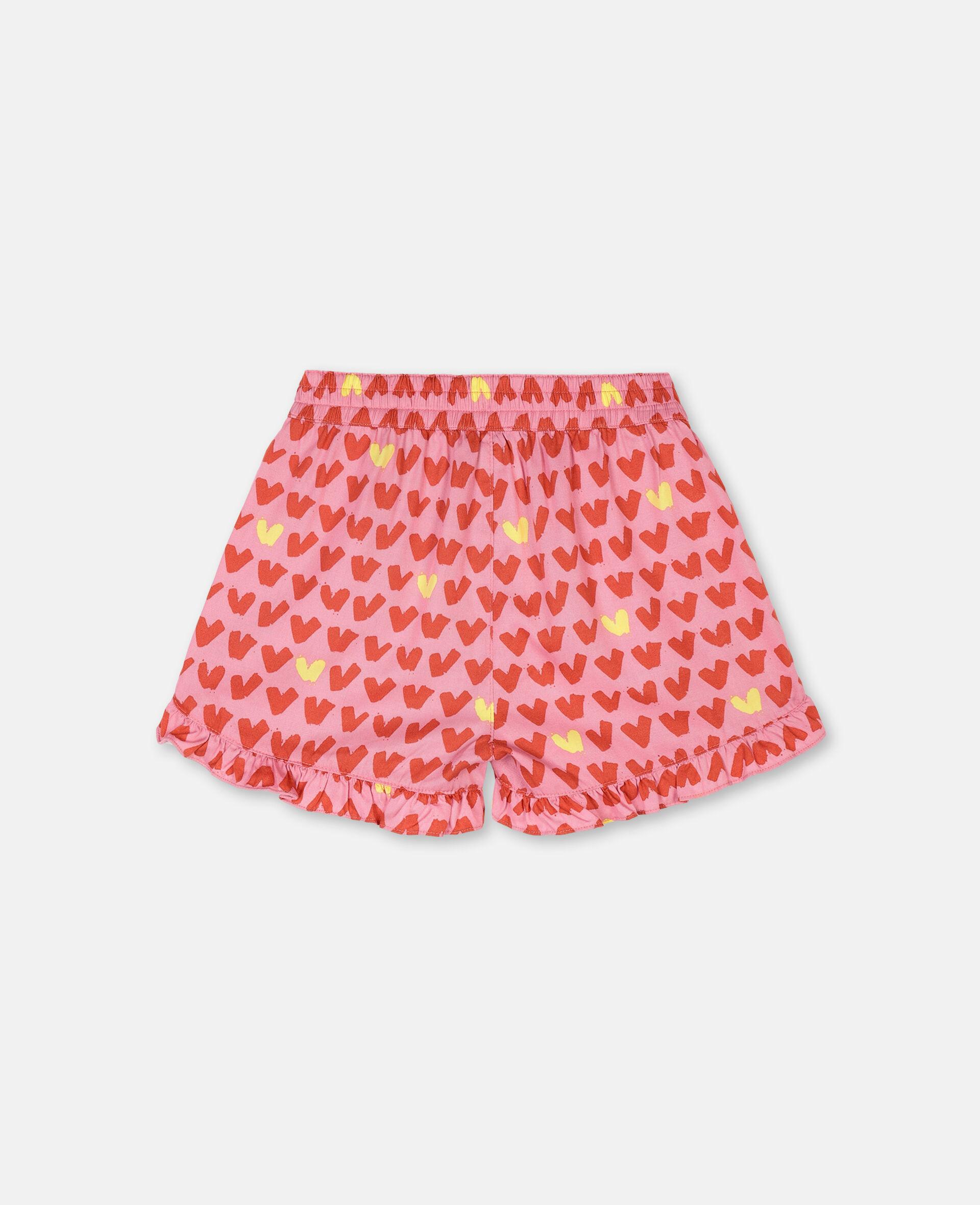 Hearts Viscose Twill Shorts -Pink-large image number 3