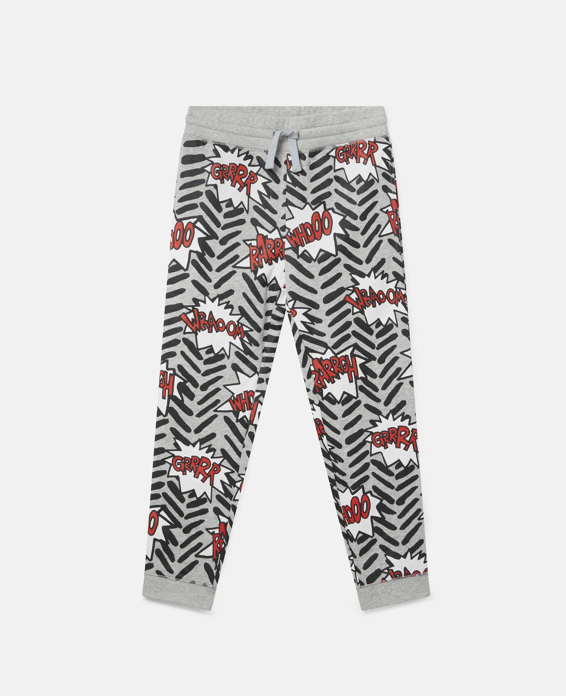 Pantalon de jogging en polaire imprimé bulles BD-Gris-large image number 0