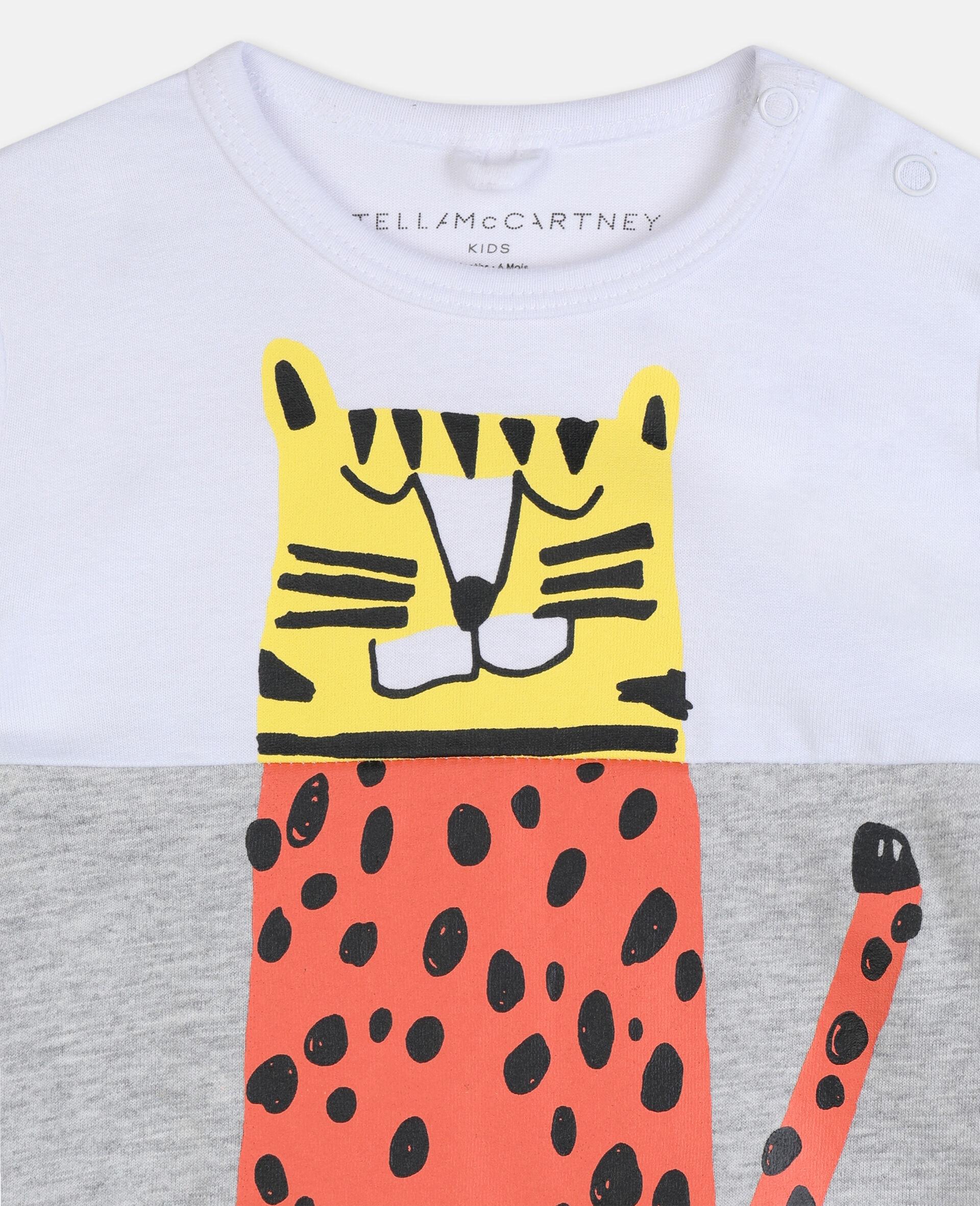 Jumpsuit aus Baumwolle mit Tiger-Print-Weiß-large image number 2