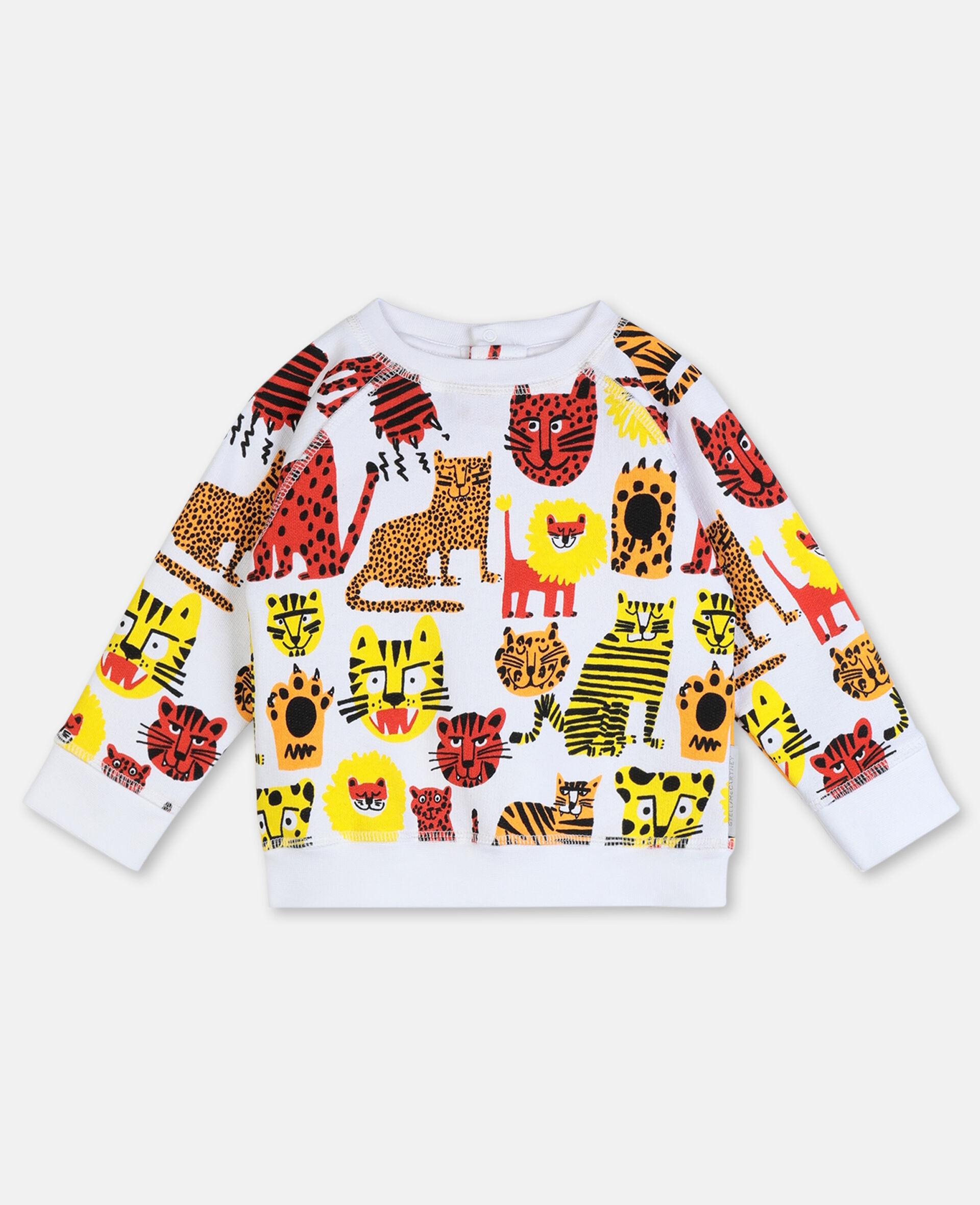 Sweatshirt aus Baumwolle mit Wildkatzen-Print -Gelb-large image number 0