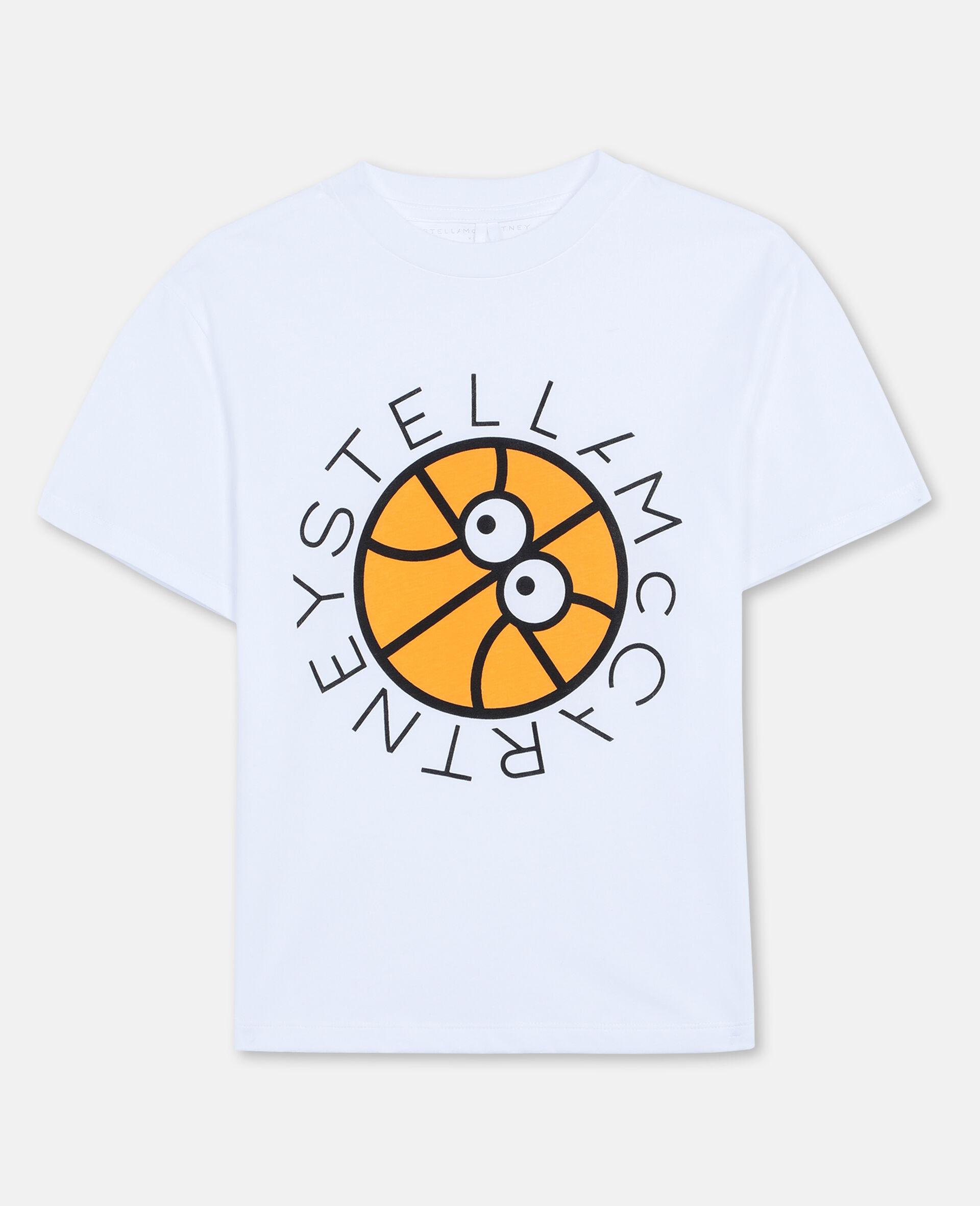 T-Shirt Oversize in Cotone con Logo Basket -Bianco-large image number 0