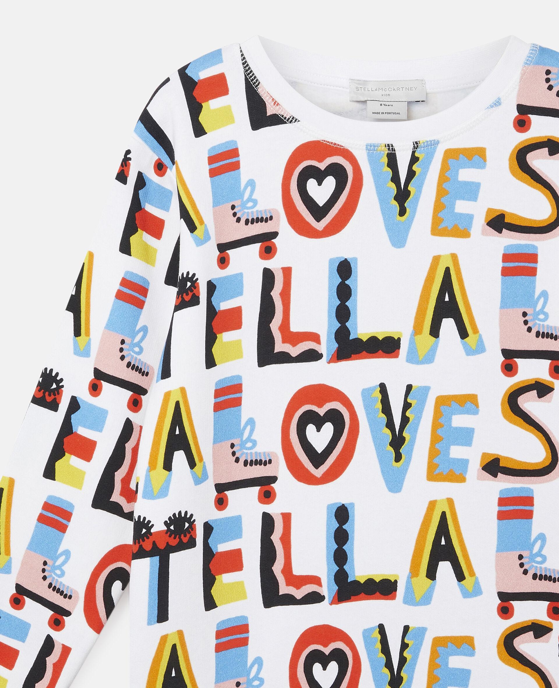 Kleid aus Baumwollfleece mit Stella Loves-Print-Weiß-large image number 1