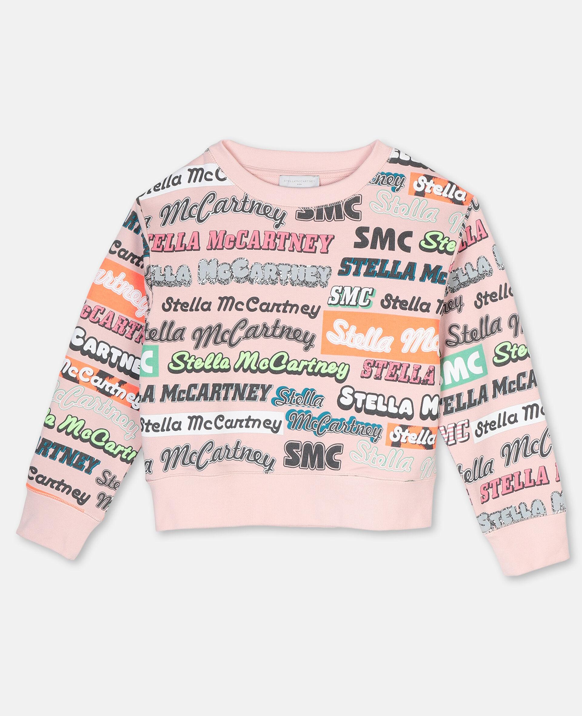 Sweat-shirt de sport en coton avec logo-Rose-large image number 0
