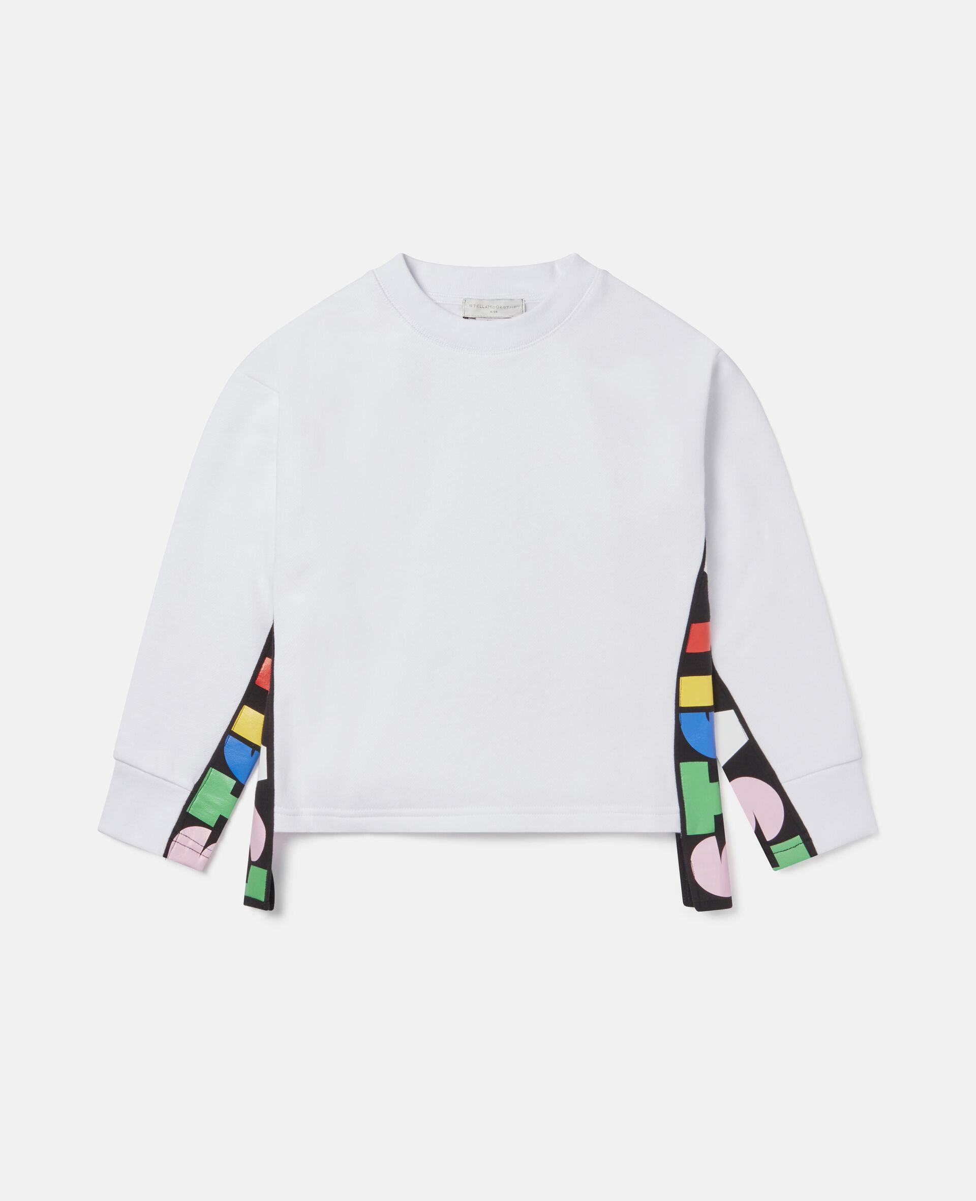 Übergroßes Sweatshirt aus Fleece mit Stella-Print -Weiß-large image number 0