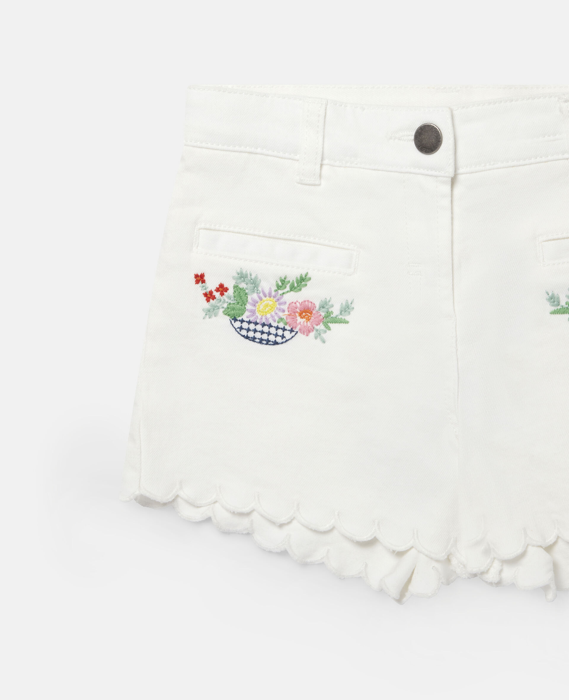 Embroidered Flowers Denim Shorts-White-large image number 1