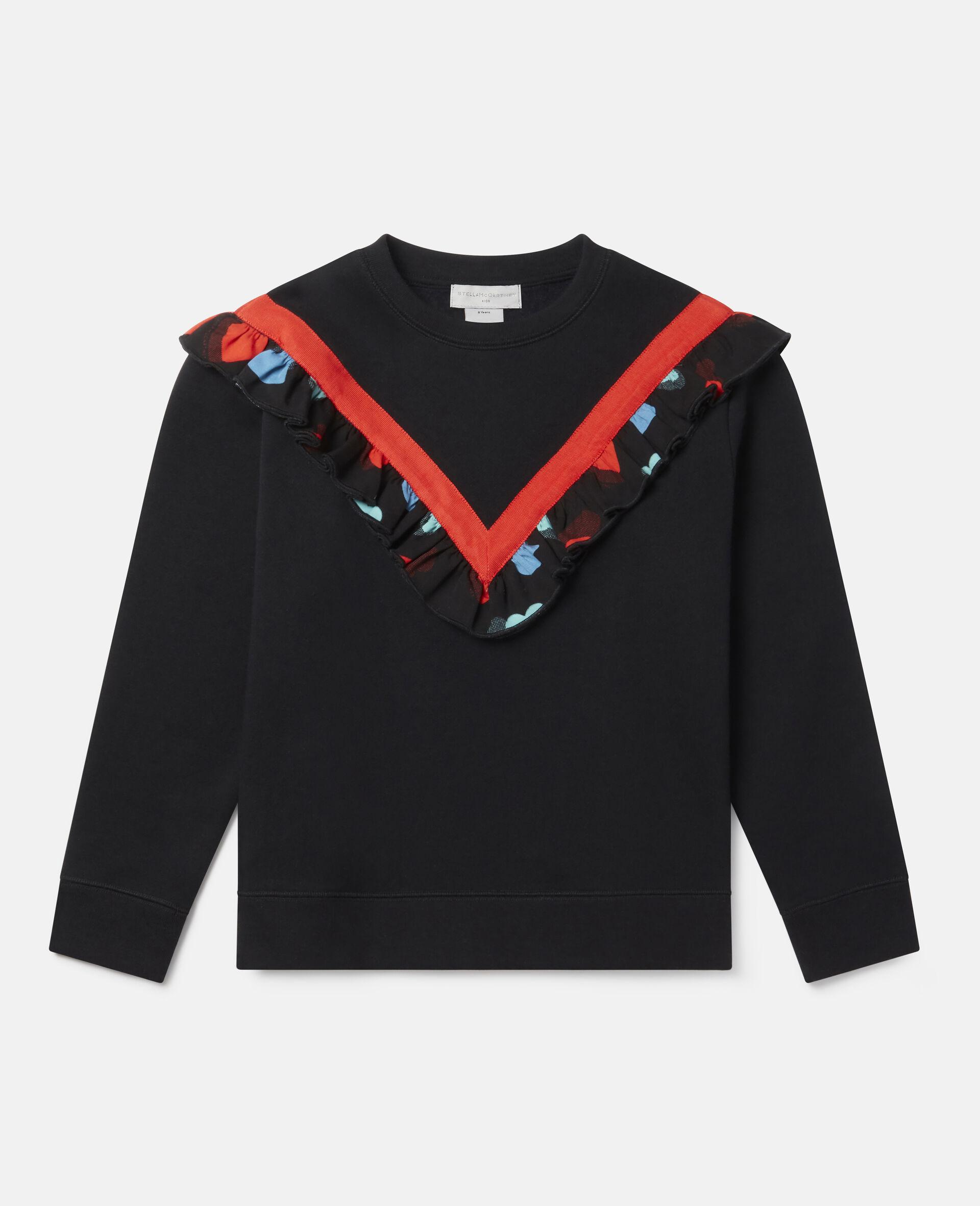 Frilled Fleece Sweatshirt -Black-large image number 0