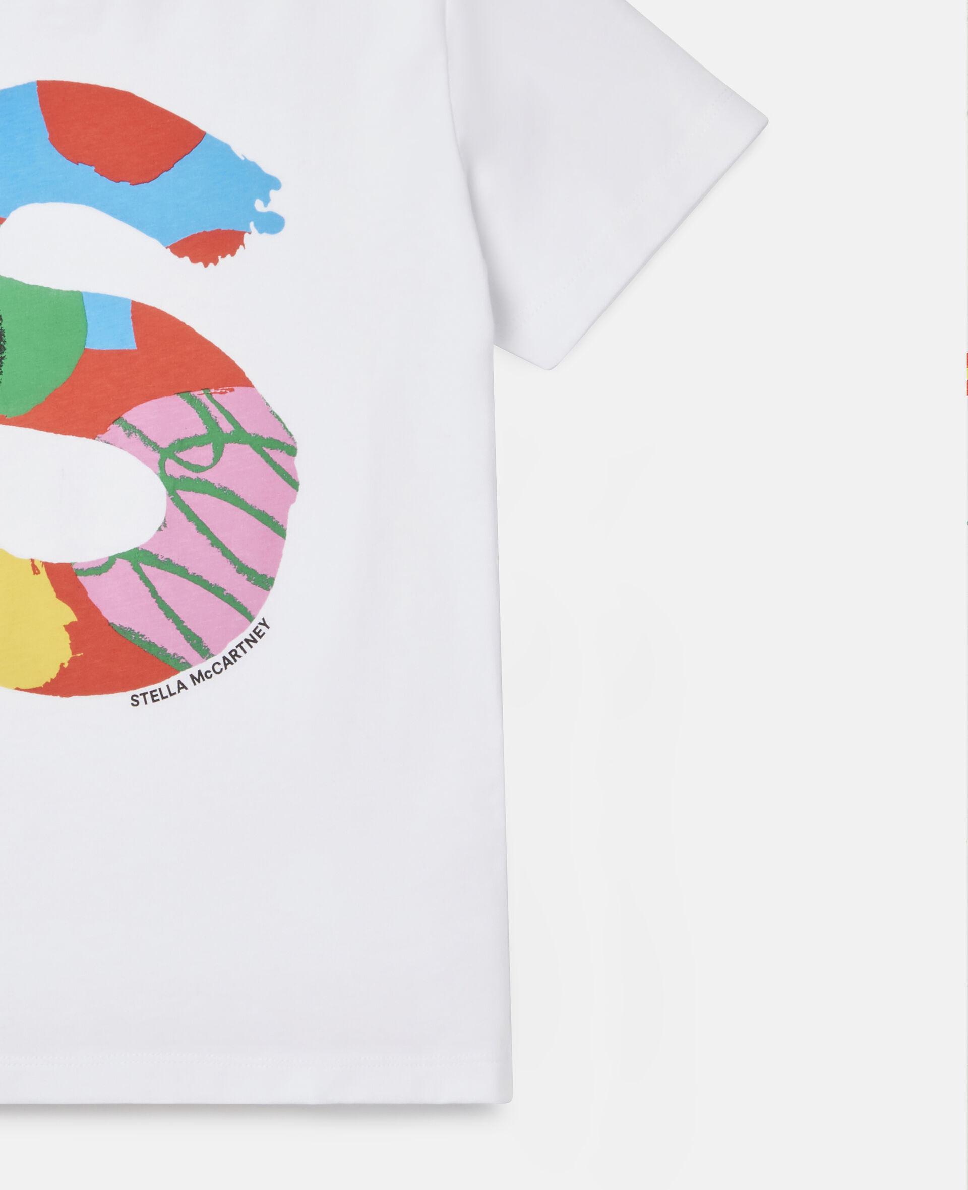 T-Shirt aus Baumwolle mit Malerei-Logo -Weiß-large image number 1