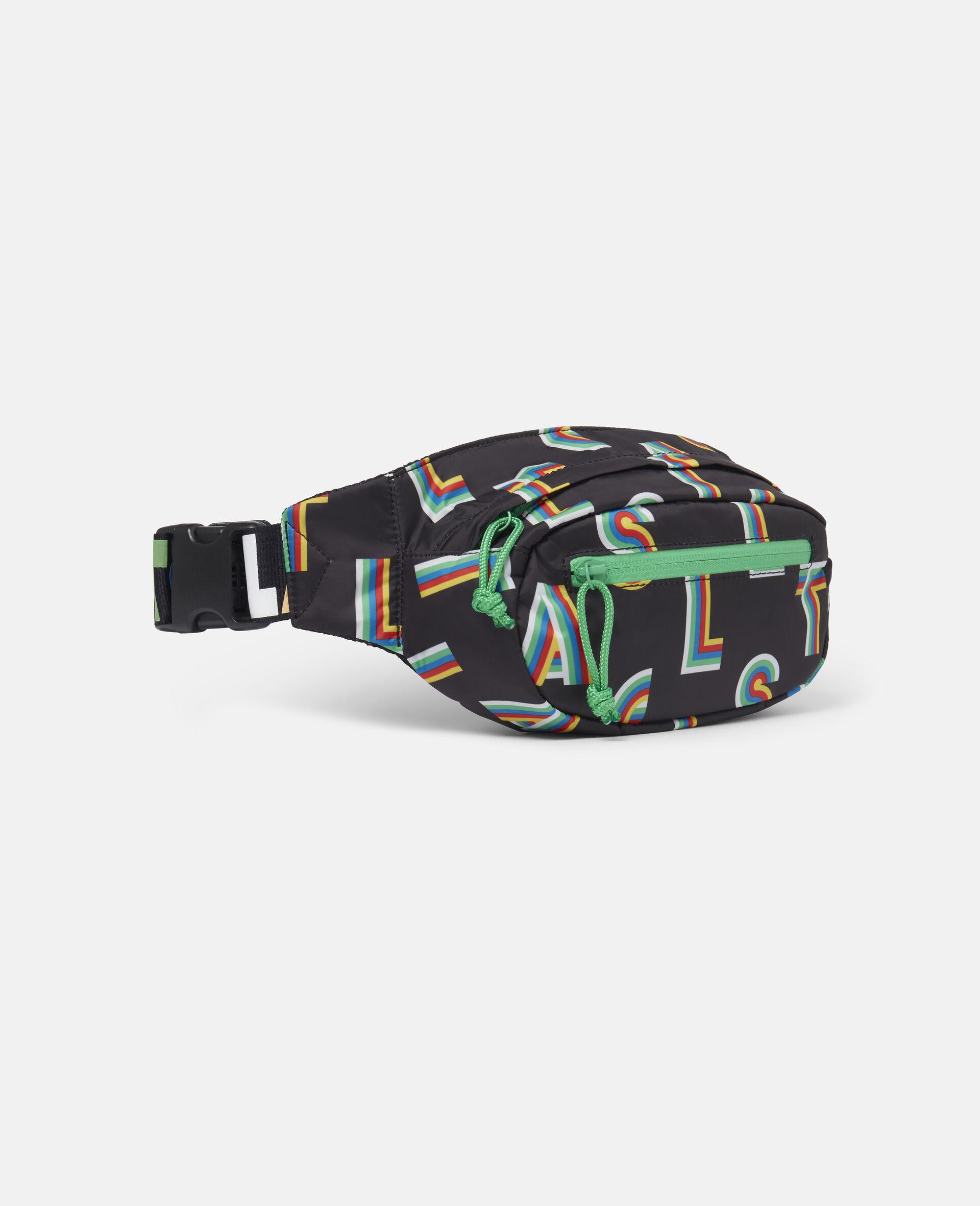 Striped Stella Lettering Sport Bum Bag-Black-large image number 1